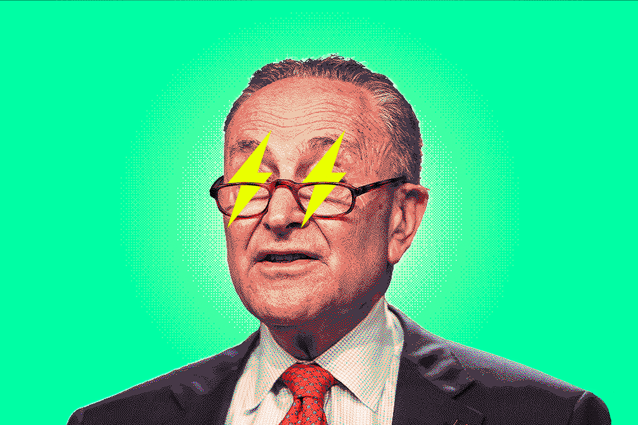 A photo illustration of Chuck Schumer with yellow lightning bolts covering his eyes.