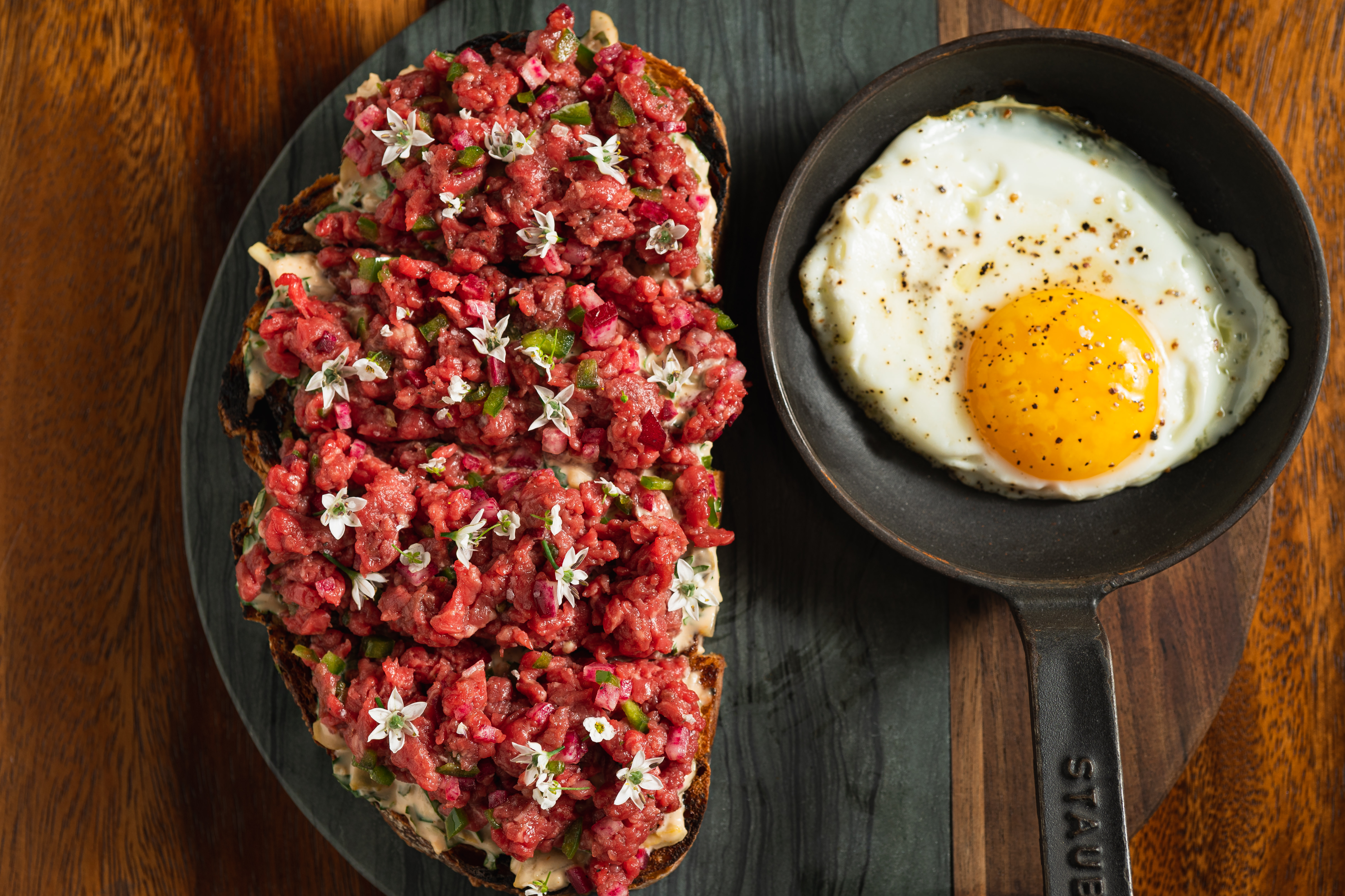 Richard Blais's beef tartare with a fried egg on the side