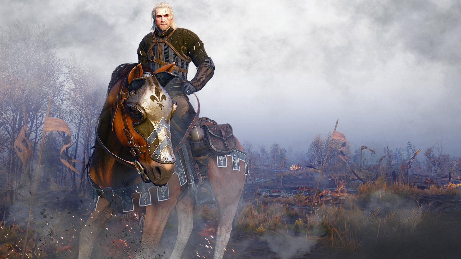 Geralt riding Roach in The Witcher 3: Wild Hunt