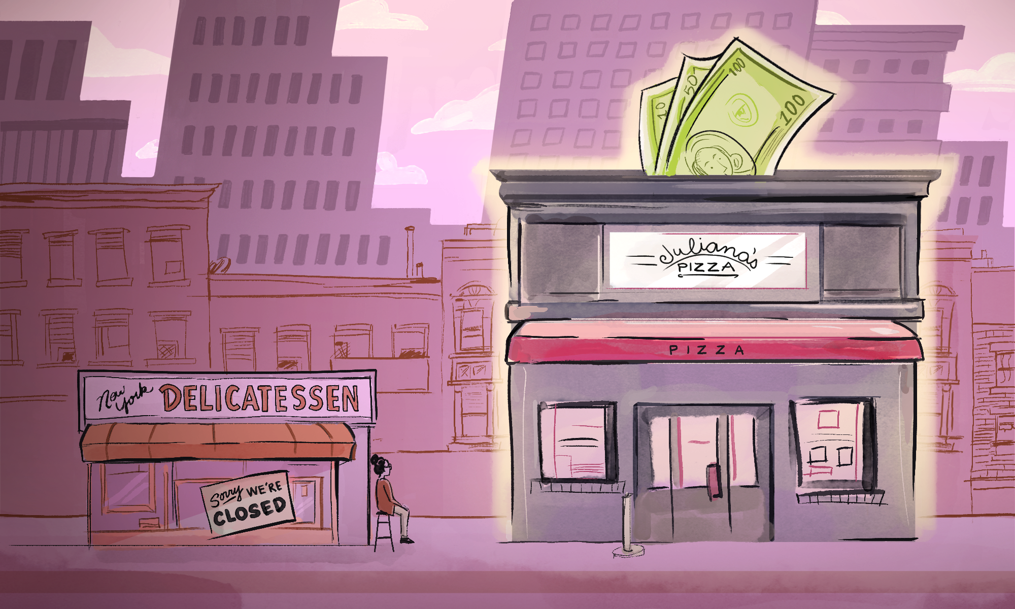 Illustration of two buildings: One small deli that's out of the spotlight, and the other a bigger pizzeria place with dollar bills going into its roof like a piggy bank.