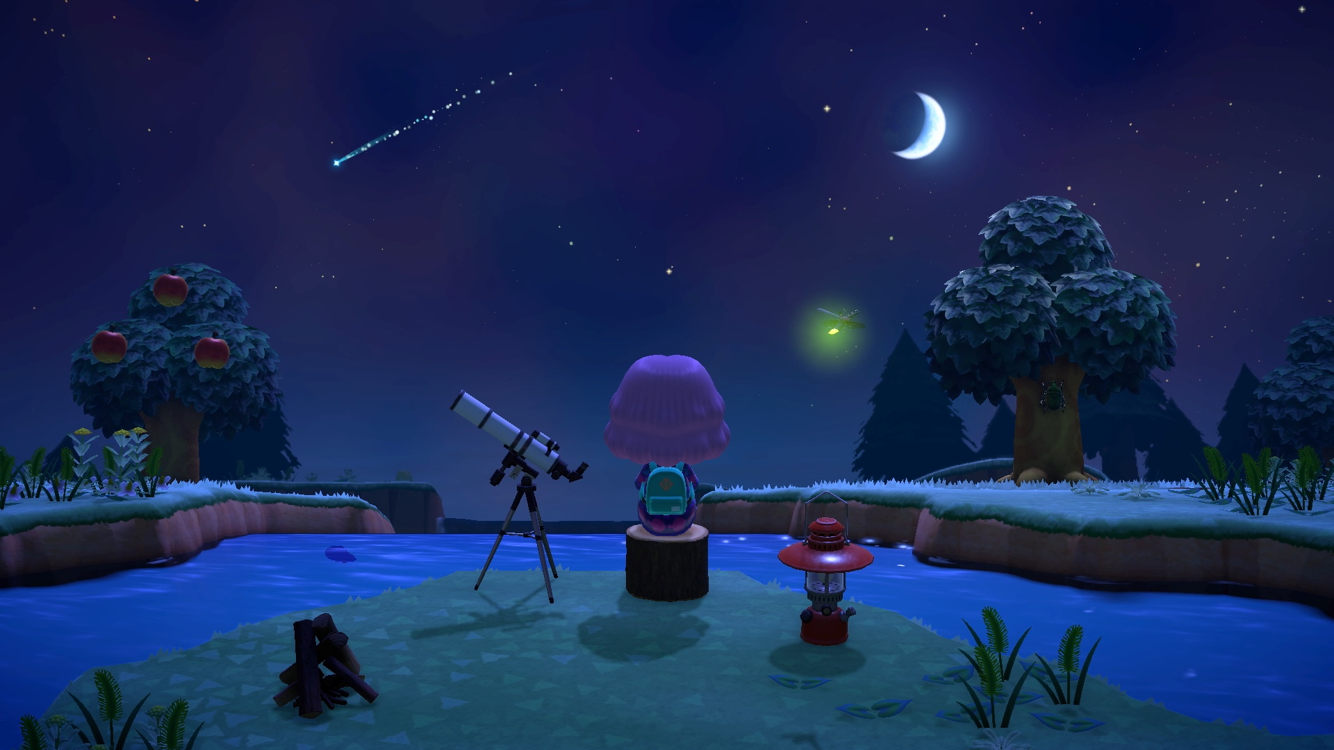 A villager gazes out at a starry nighttime sky by the river in a screenshot from Animal Crossing; New Horizons.