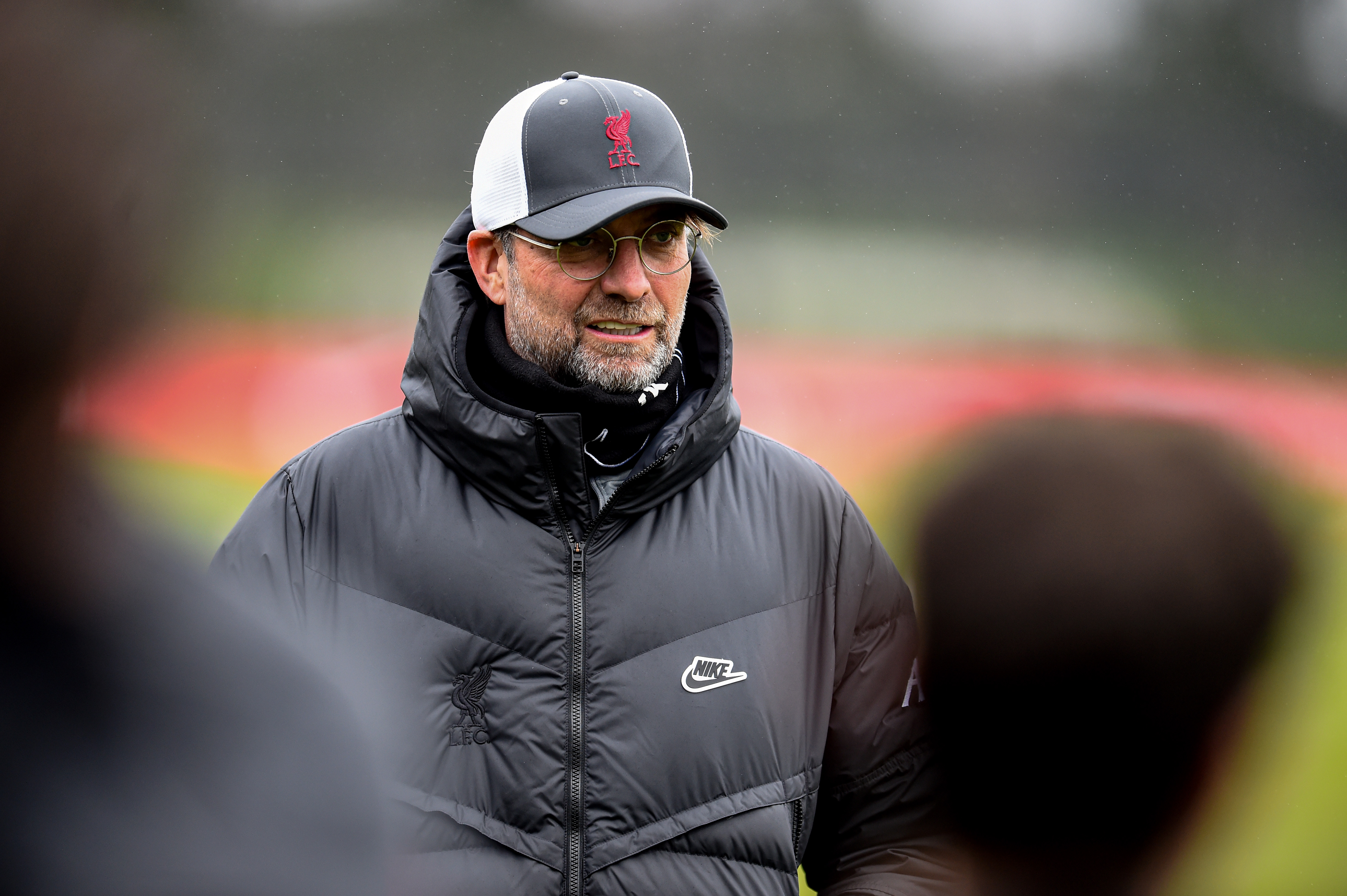 Jurgen Klopp manager of Liverpool during a training session at AXA Training Centre on March 18, 2021 in Kirkby, England.