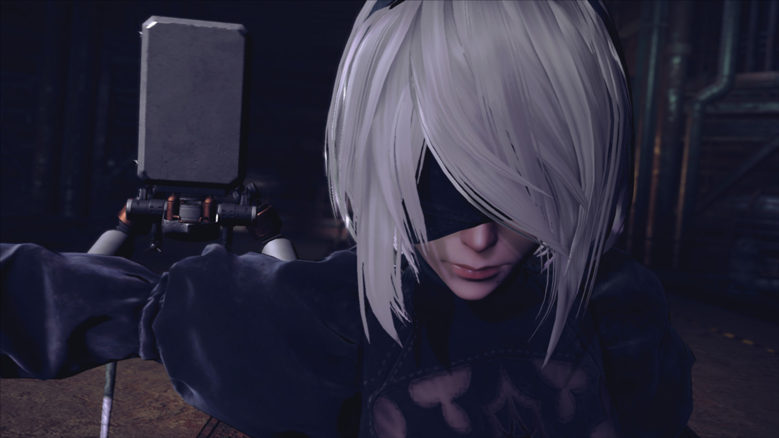 Nier: Automata - close-up of 2B's face