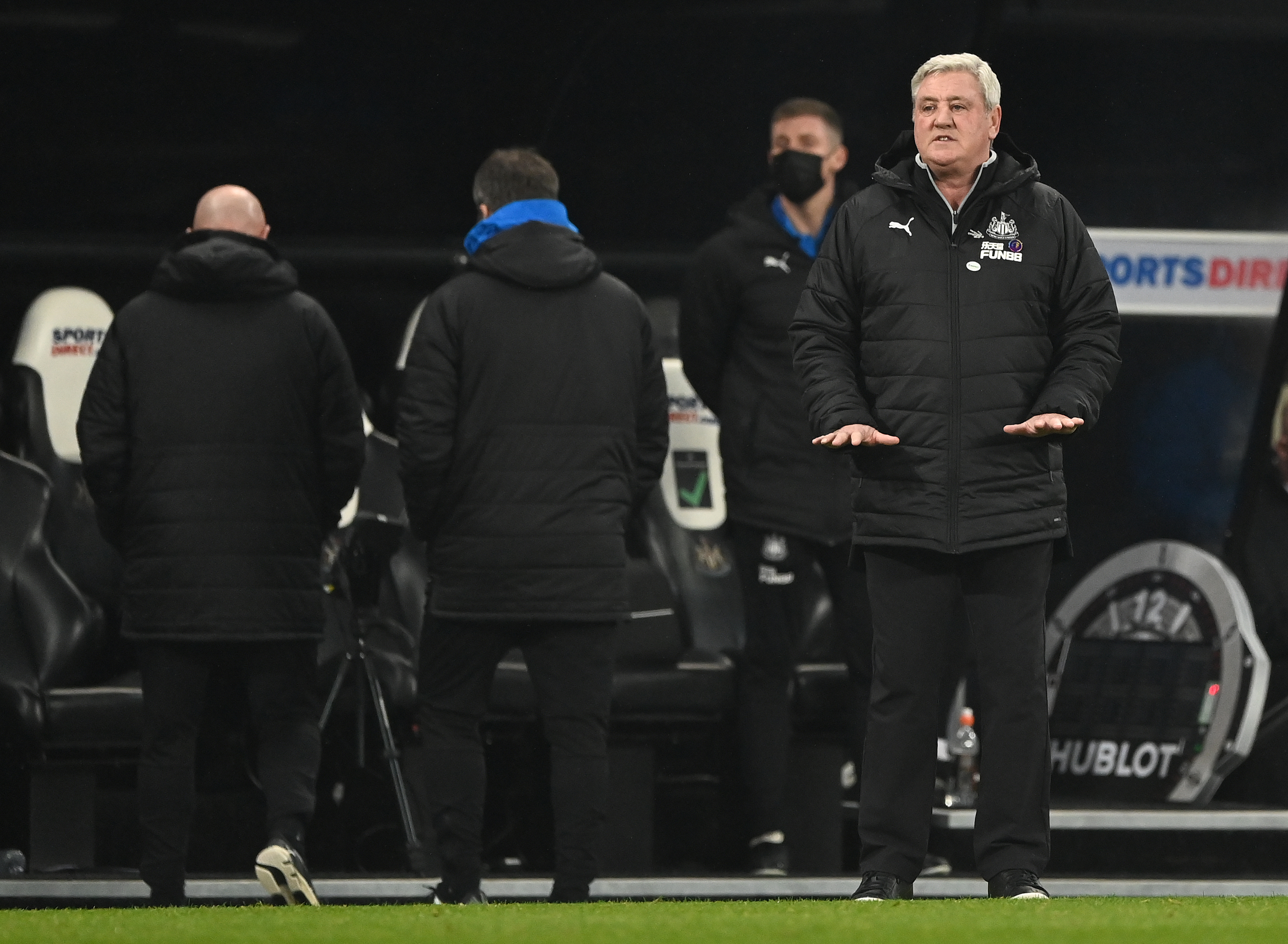 Steve Bruce holds his hands down low in loss against Leeds.