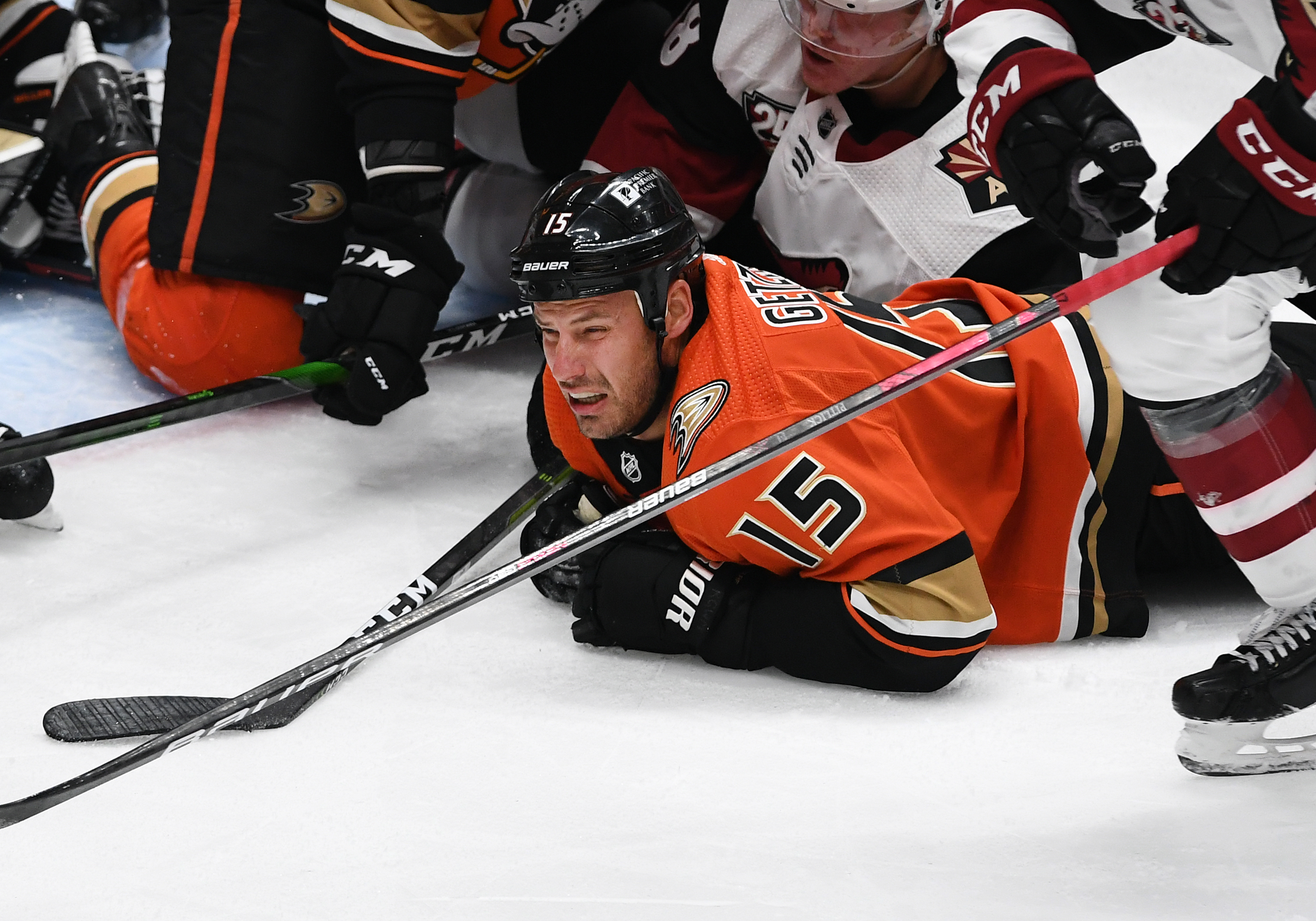 Anaheim Ducks Center Ryan Getzlaf (15) diving for the puck in the third period of a game against the Arizona Coyotes played on March 18, 2021 at the Honda Center in Anaheim, CA.