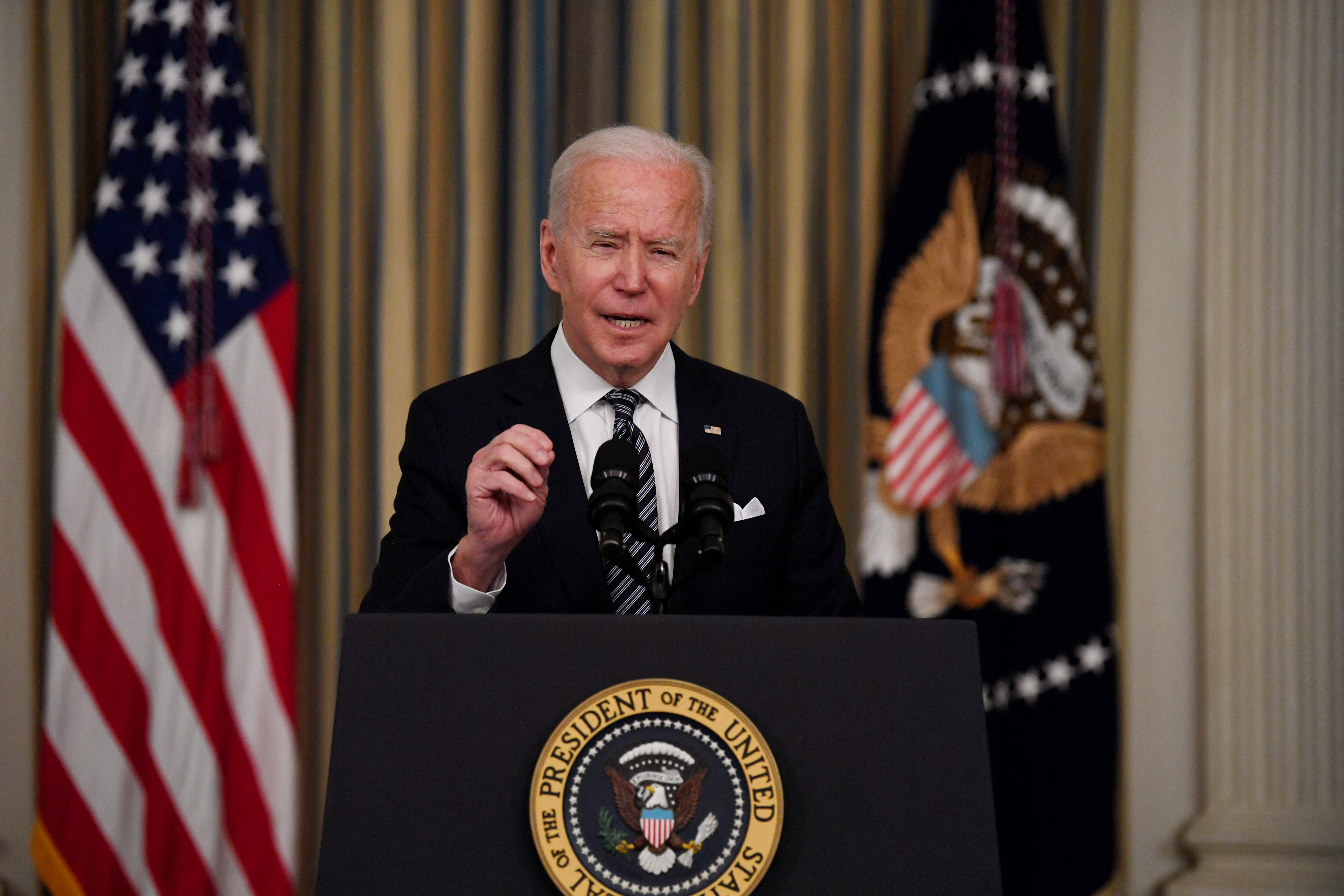 President Joe Biden speaks about implementation of the American Rescue Plan at the White House last week.