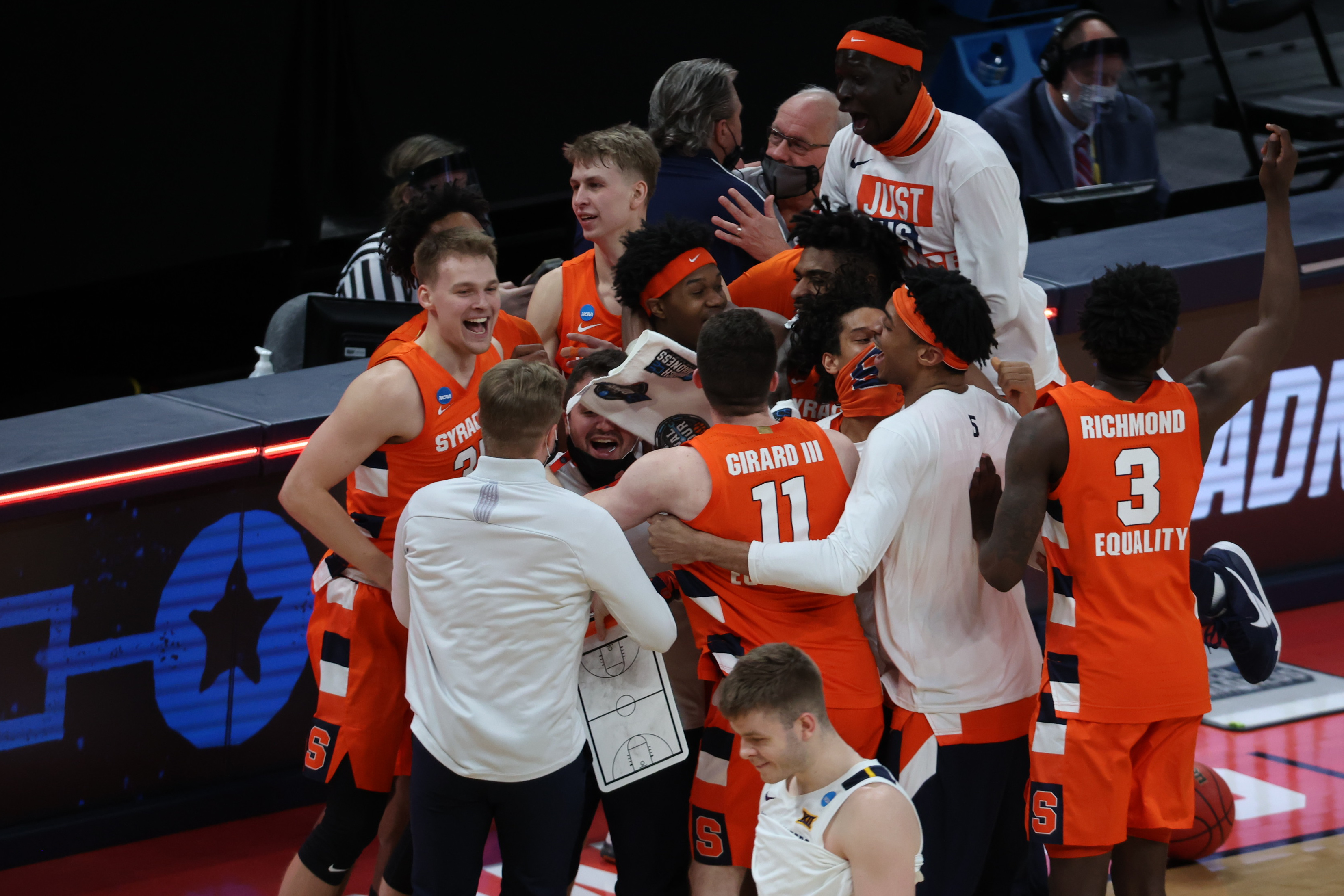 Syracuse Orange reacts to drafting the West Virginia Mountaineers in the second round of the 2021 NCAA Tournament at Bankers Life Fieldhouse.