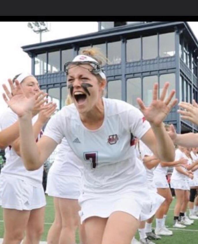 Sarah Crowley cheers on UMass Amherst.