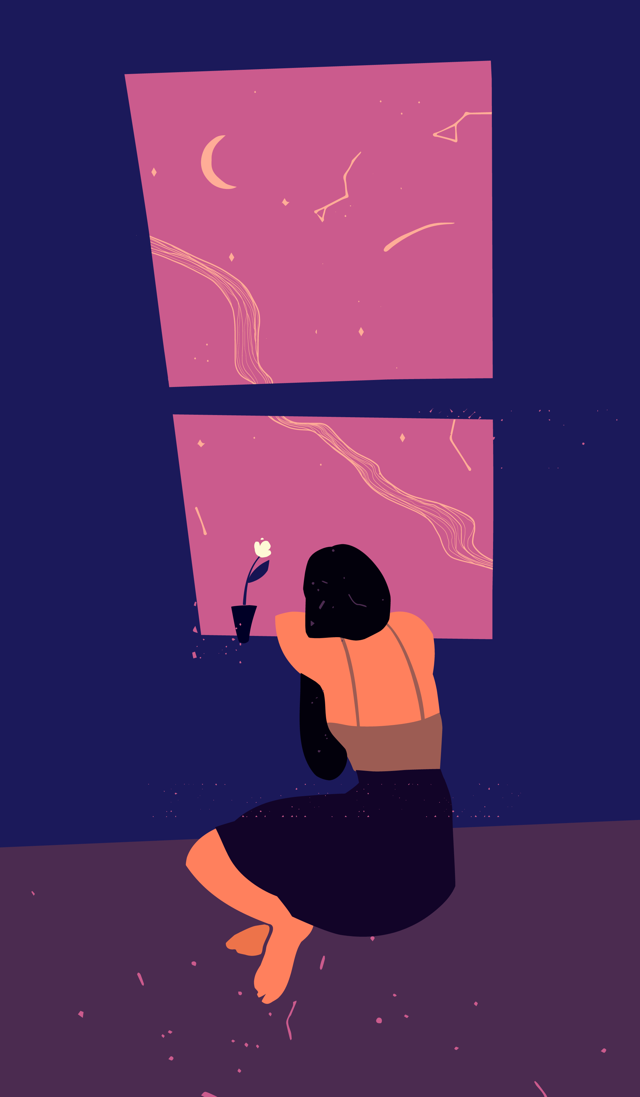 Illustration of a person sitting looking out a window.
