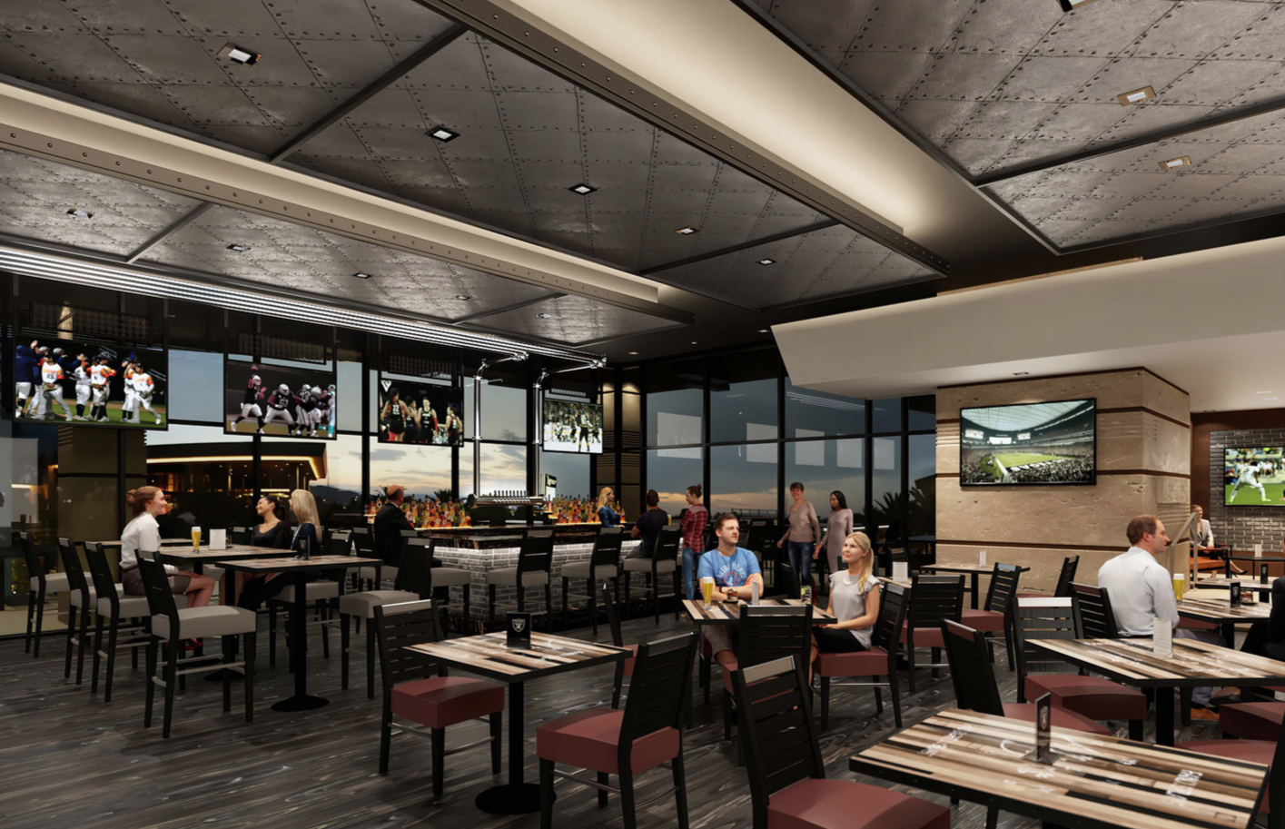 A rendering of a sports bar