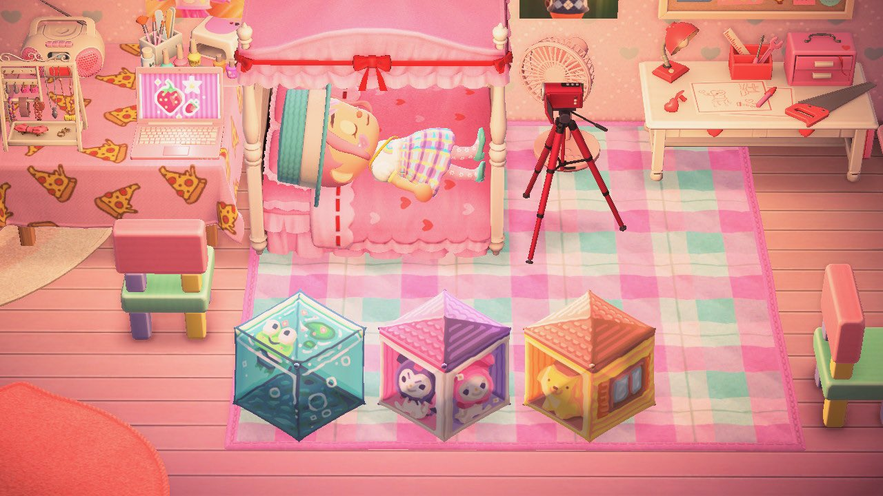 Animal Crossing: New Horizons - a villager lies on her bed, next to three Sanrio cute cube animals.