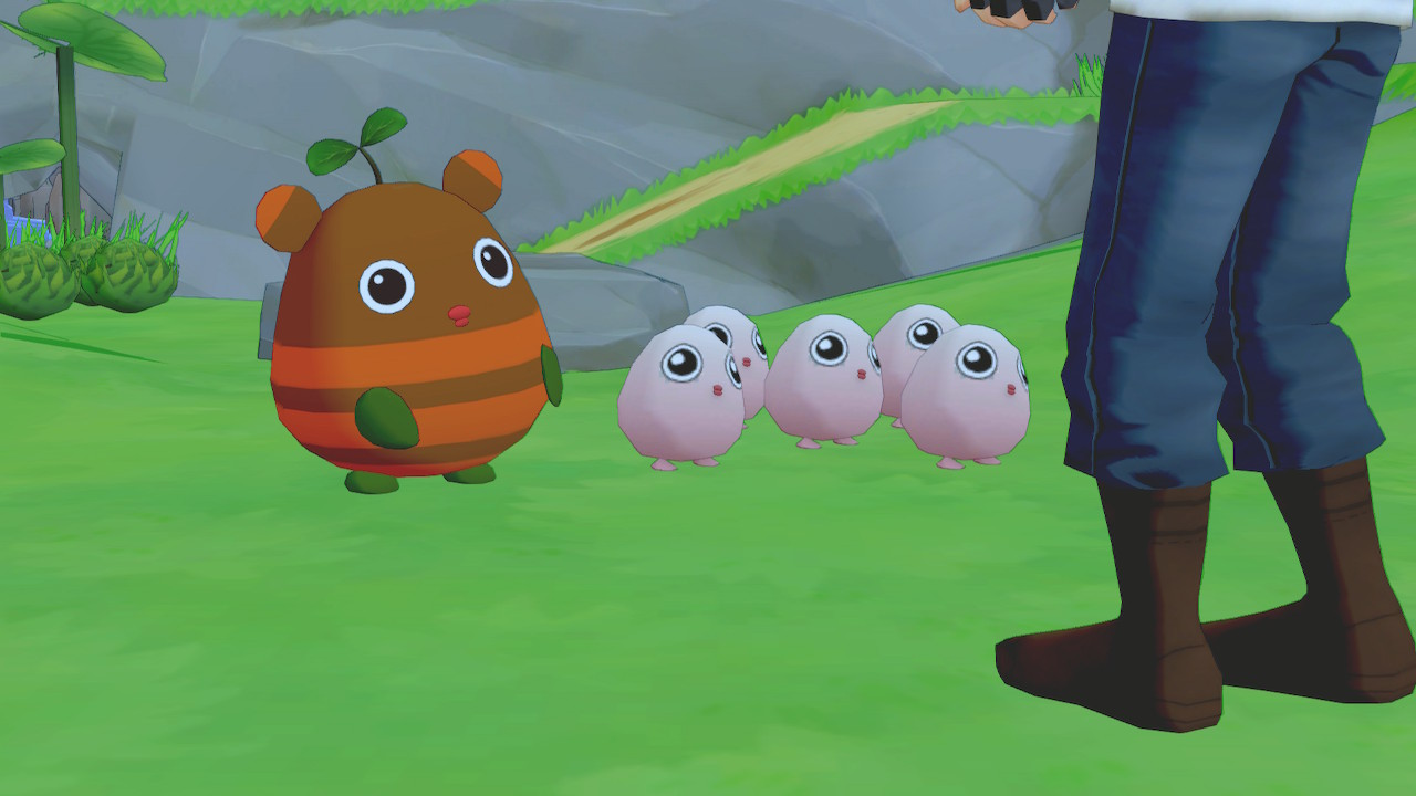 A large brown Earth Sprite followed by a bunch of pink round Harvest Sprites stand in front of a farmer