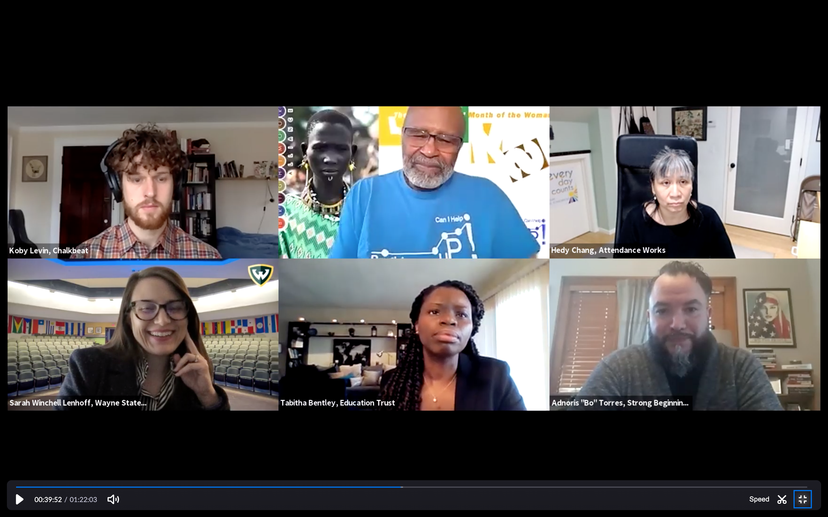 """A screenshot of six panelists who participated in Chalkbeat Detroit's virtual event, """"What to do about Michigan's missing students."""""""