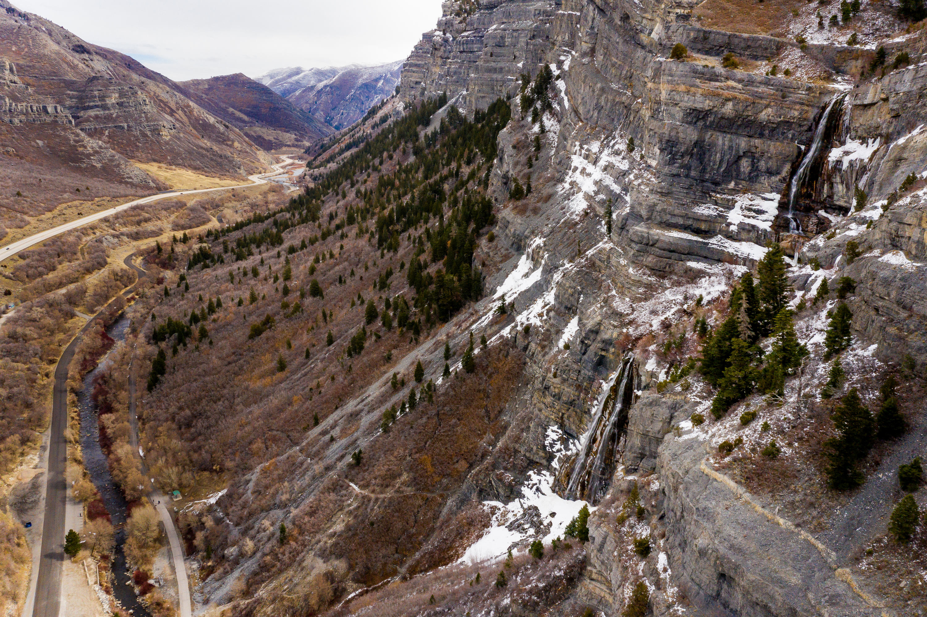 Bridal Veil Falls in Provo Canyon is pictured on Friday, March 12, 2021.