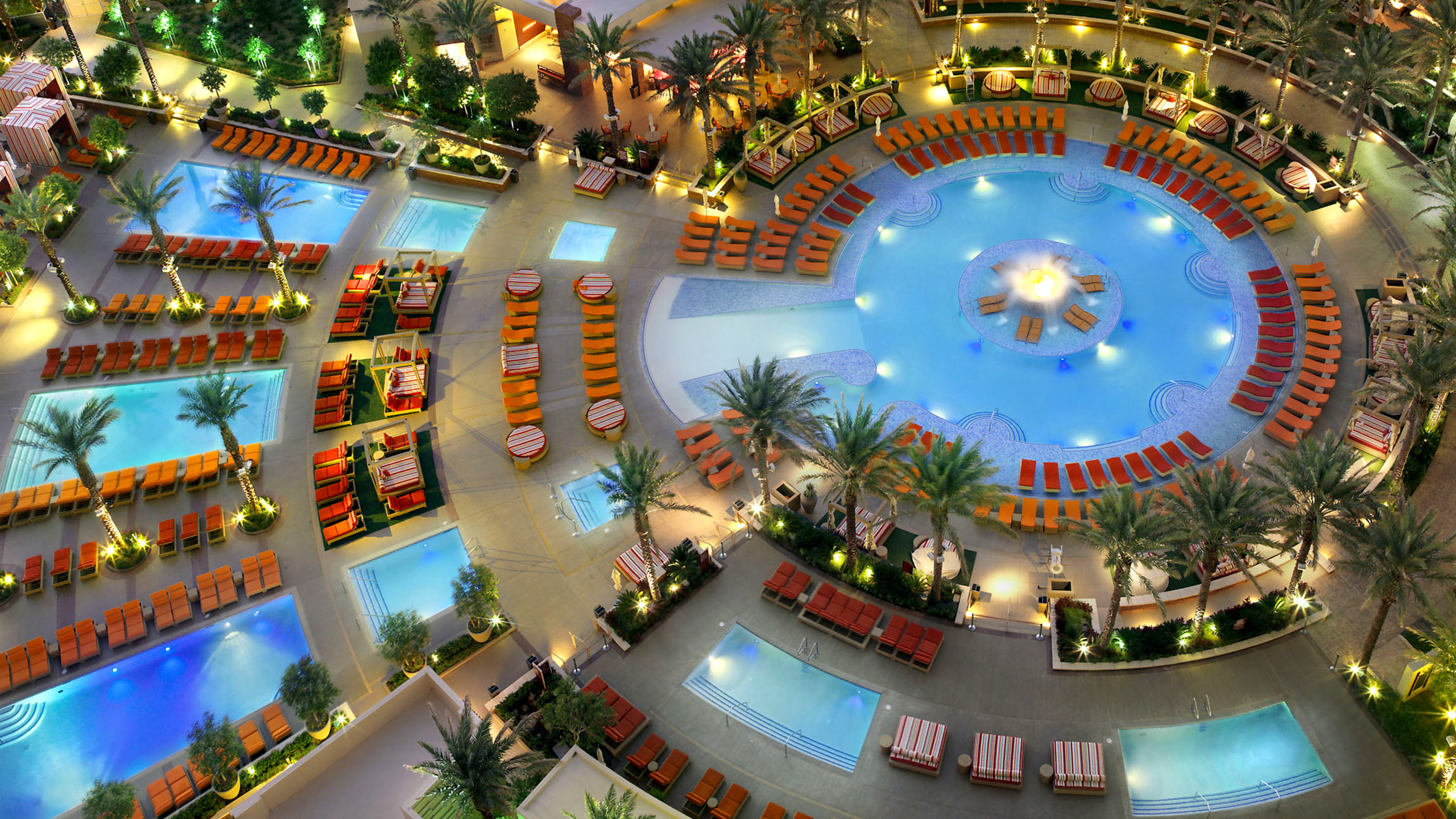 An overhead view of a pool