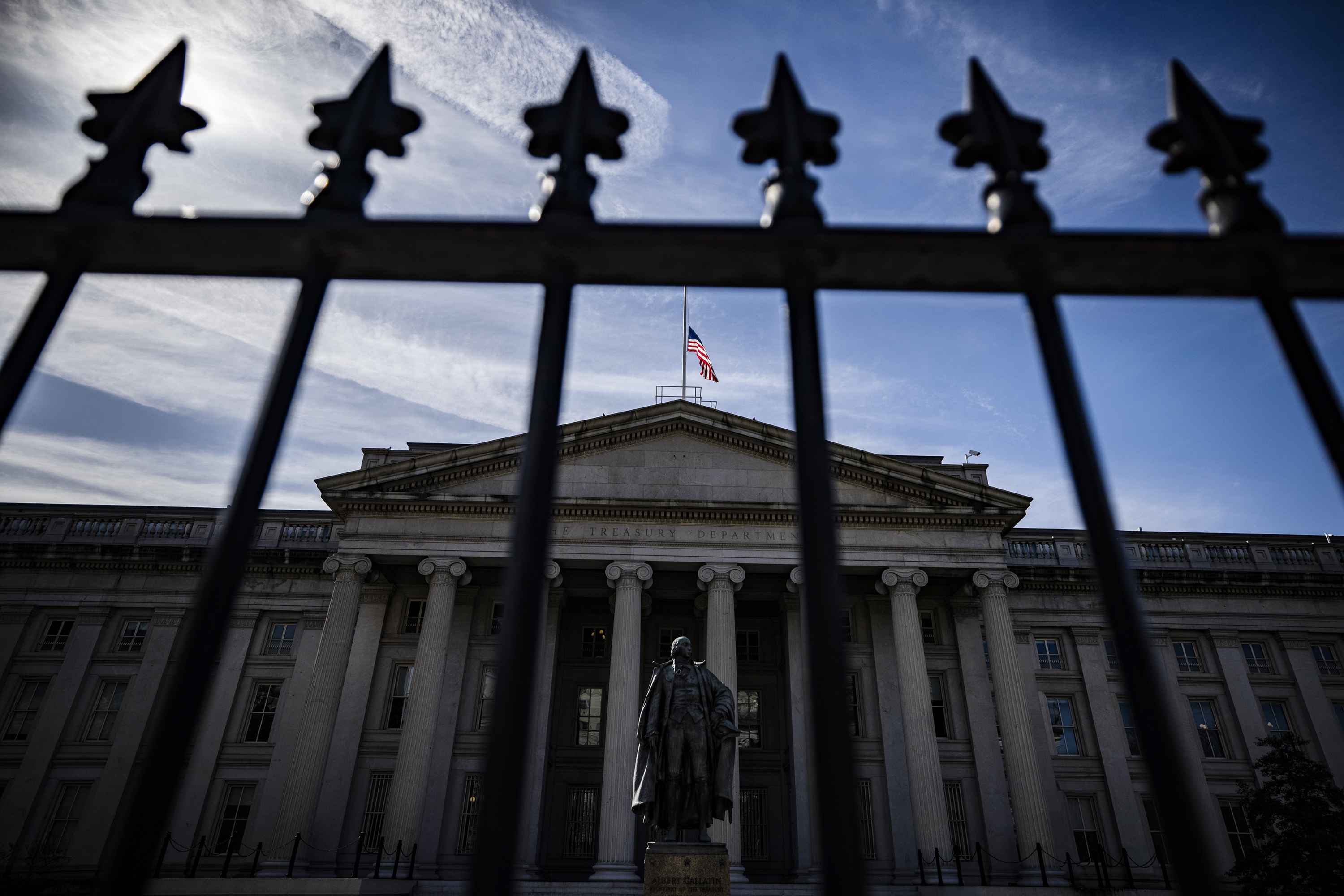 The US Treasury building in Washington, DC, seen from outside its fence.