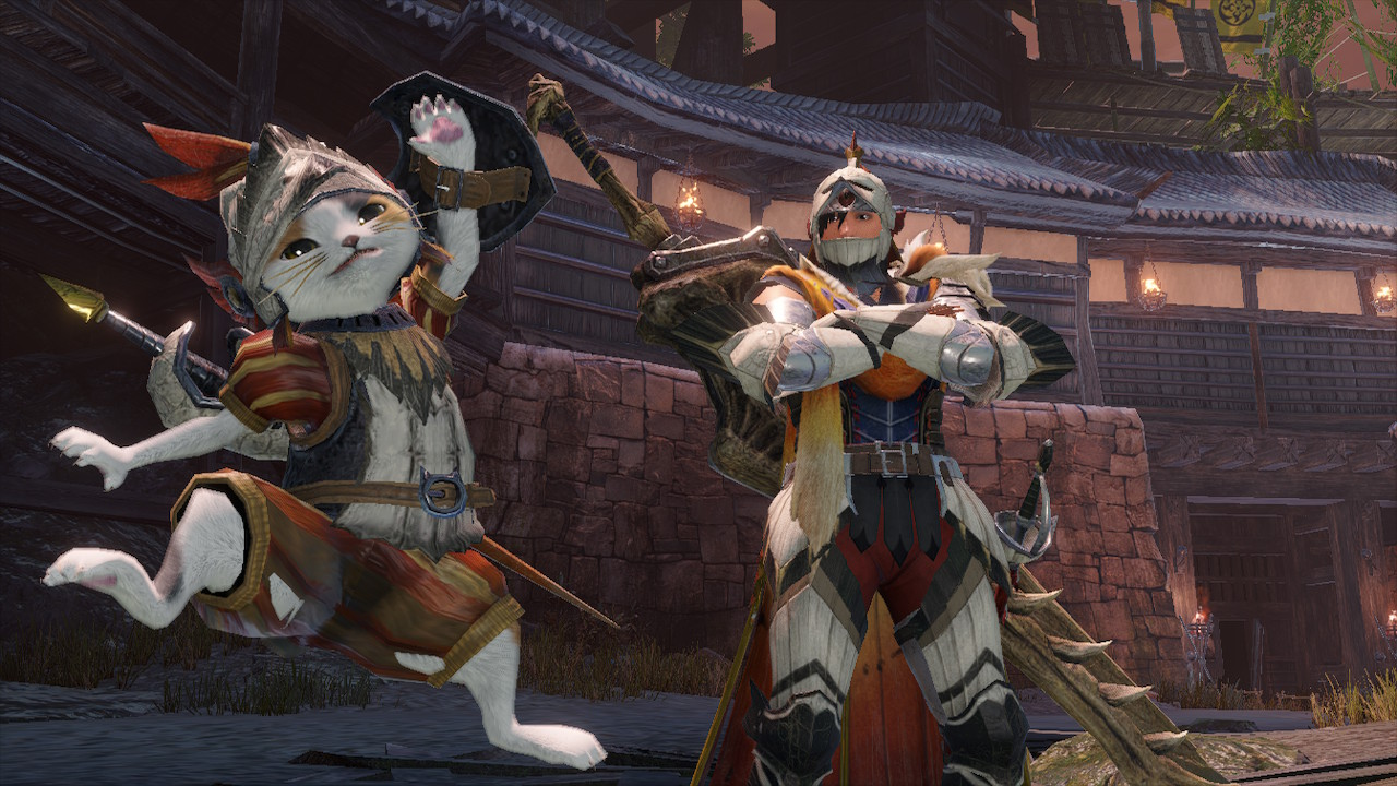 A hunter and palico celebrate in Monster Hunter Rise