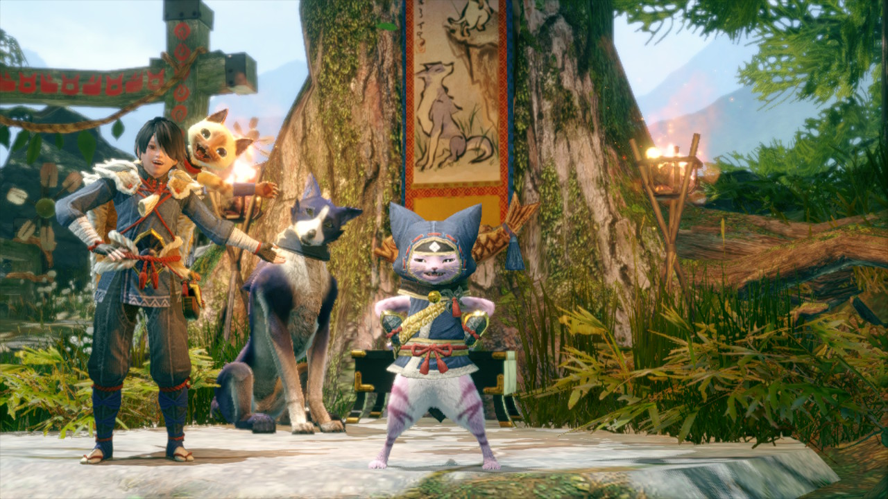 A palico stands proud in Monster Hunter Rise