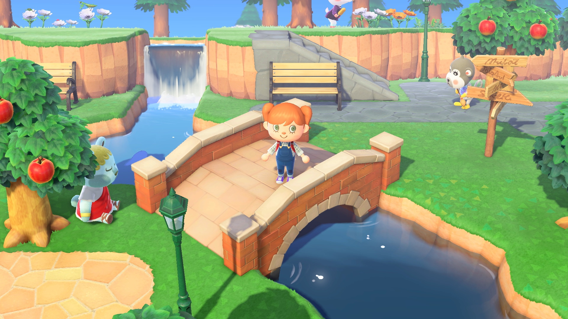 A villager stands on a stone bridge in a screenshot from Animal Crossing: New Horizons