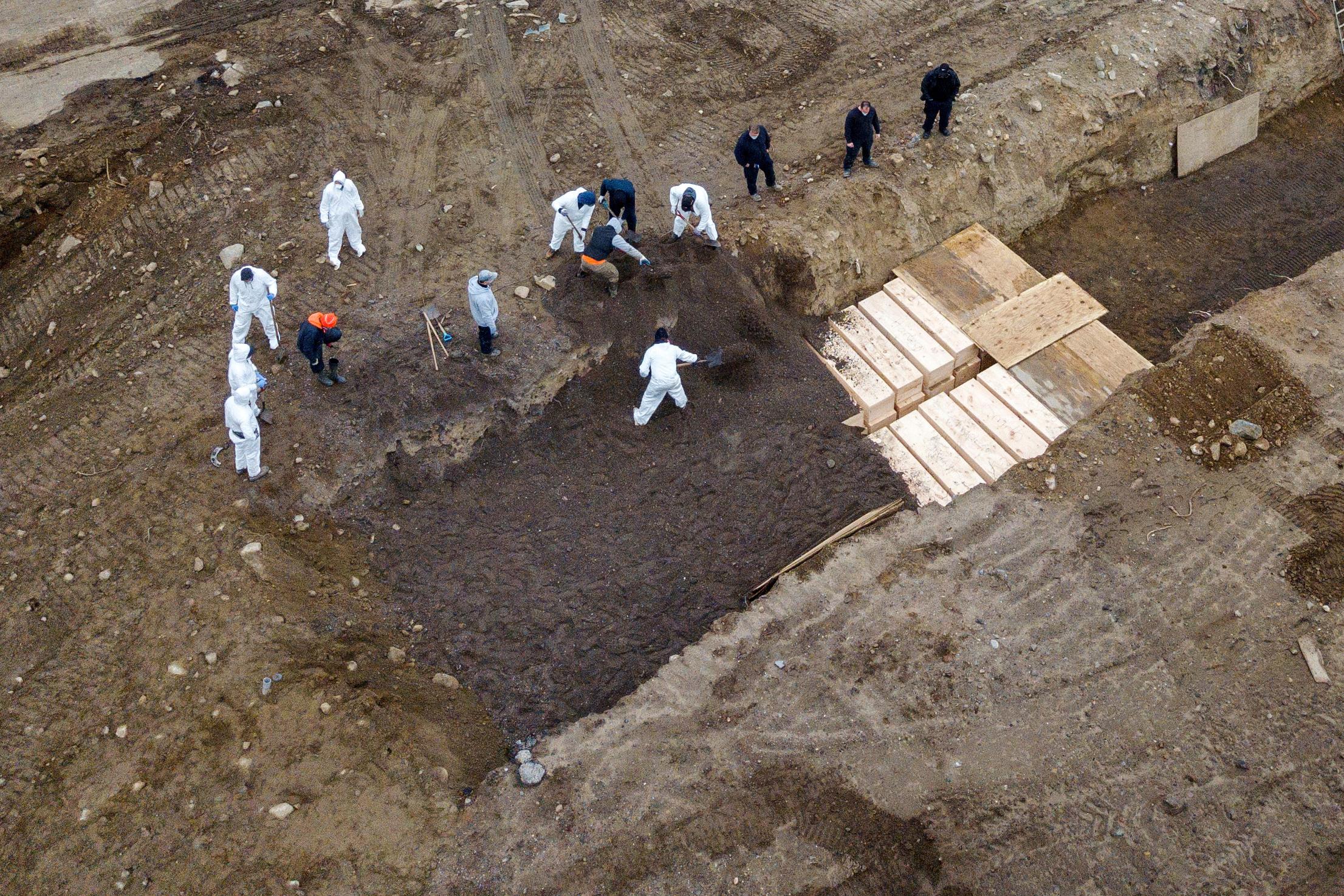 Drone pictures show bodies being buried on Hart Island amid the coronavirus outbreak, Feb. 22, 2021.