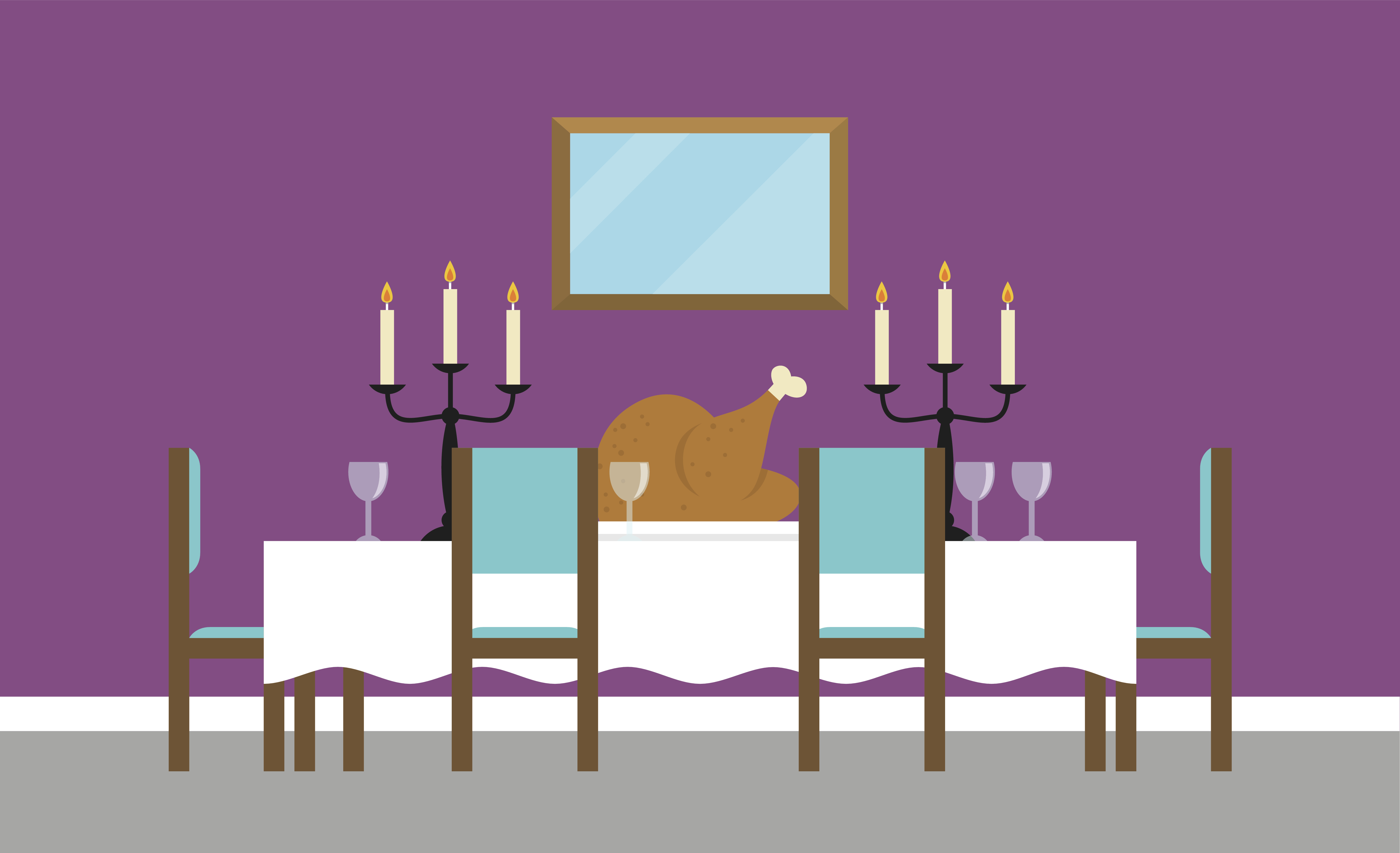 Illustration of a formal dining room with a turkey on the table.