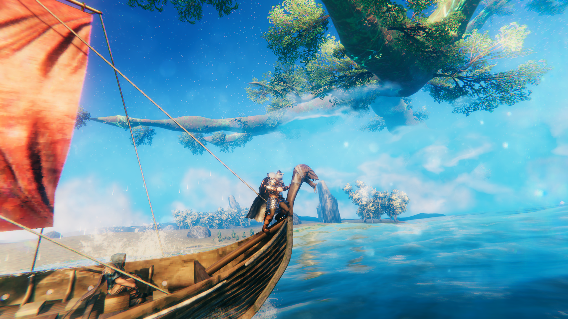 Viking on the bough of a longship. Screen image from the Valheim