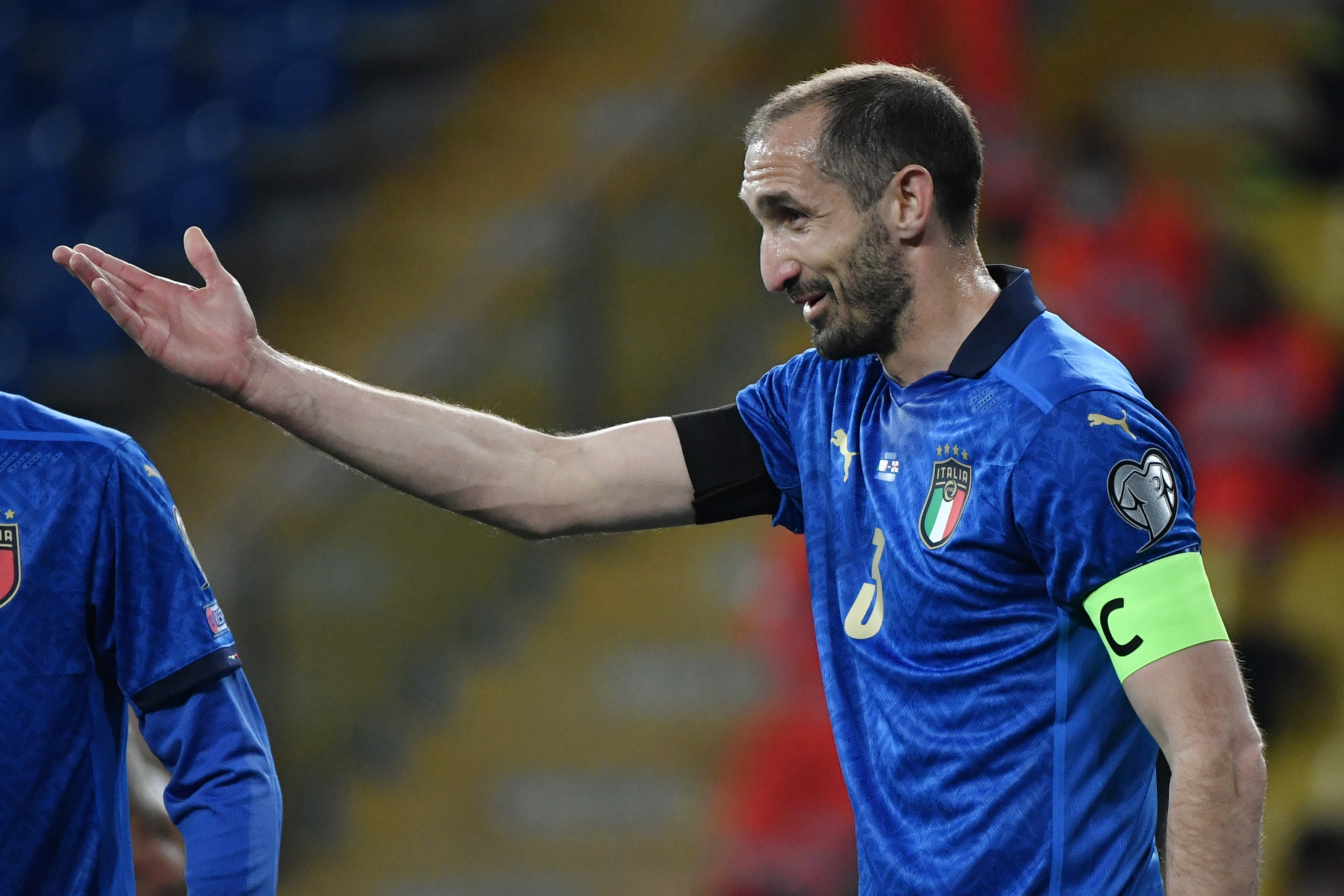 Giorgio Chiellini of Italy reacts during the FIFA World Cup...