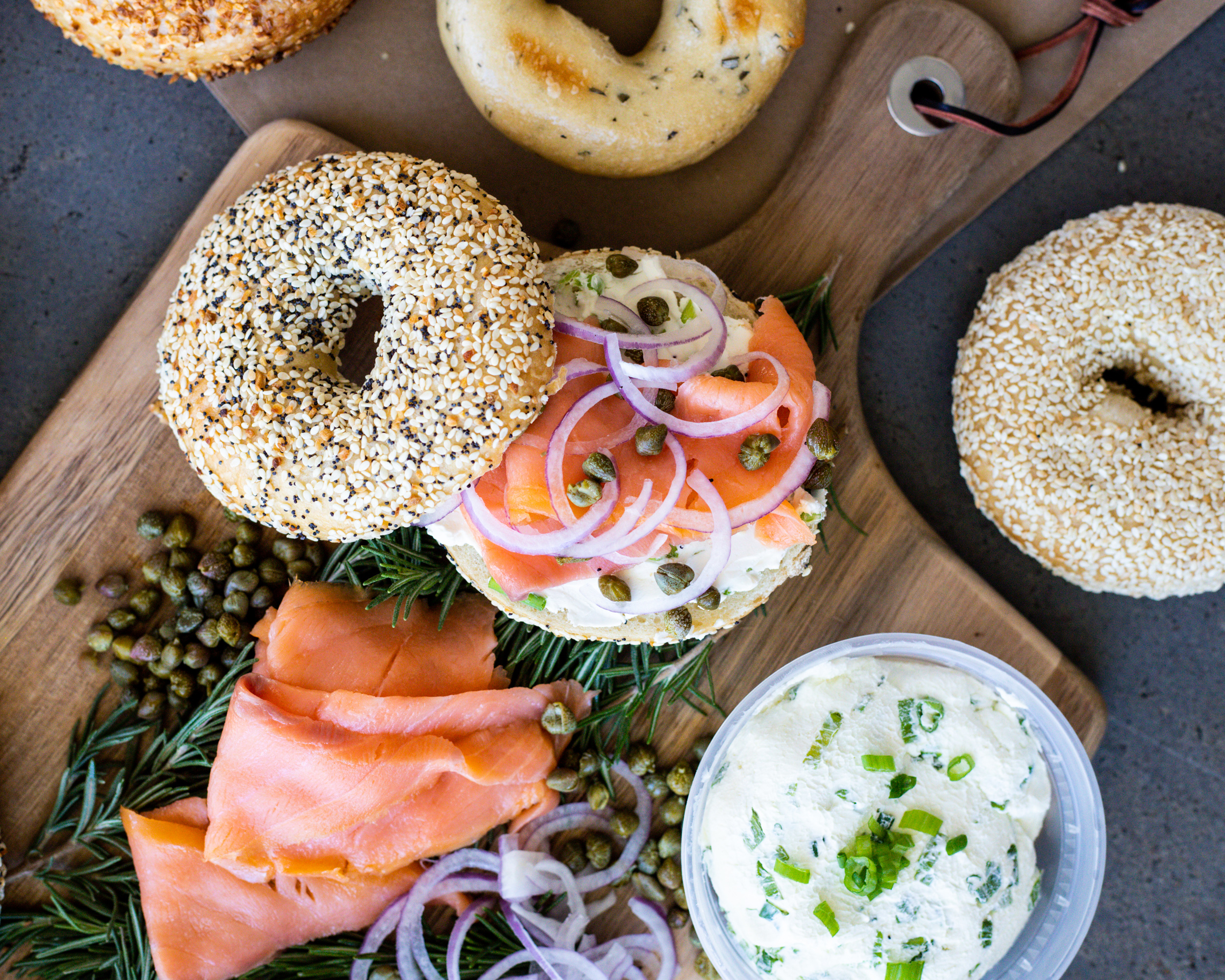 A bagel with cream cheese and lox from Rosen's