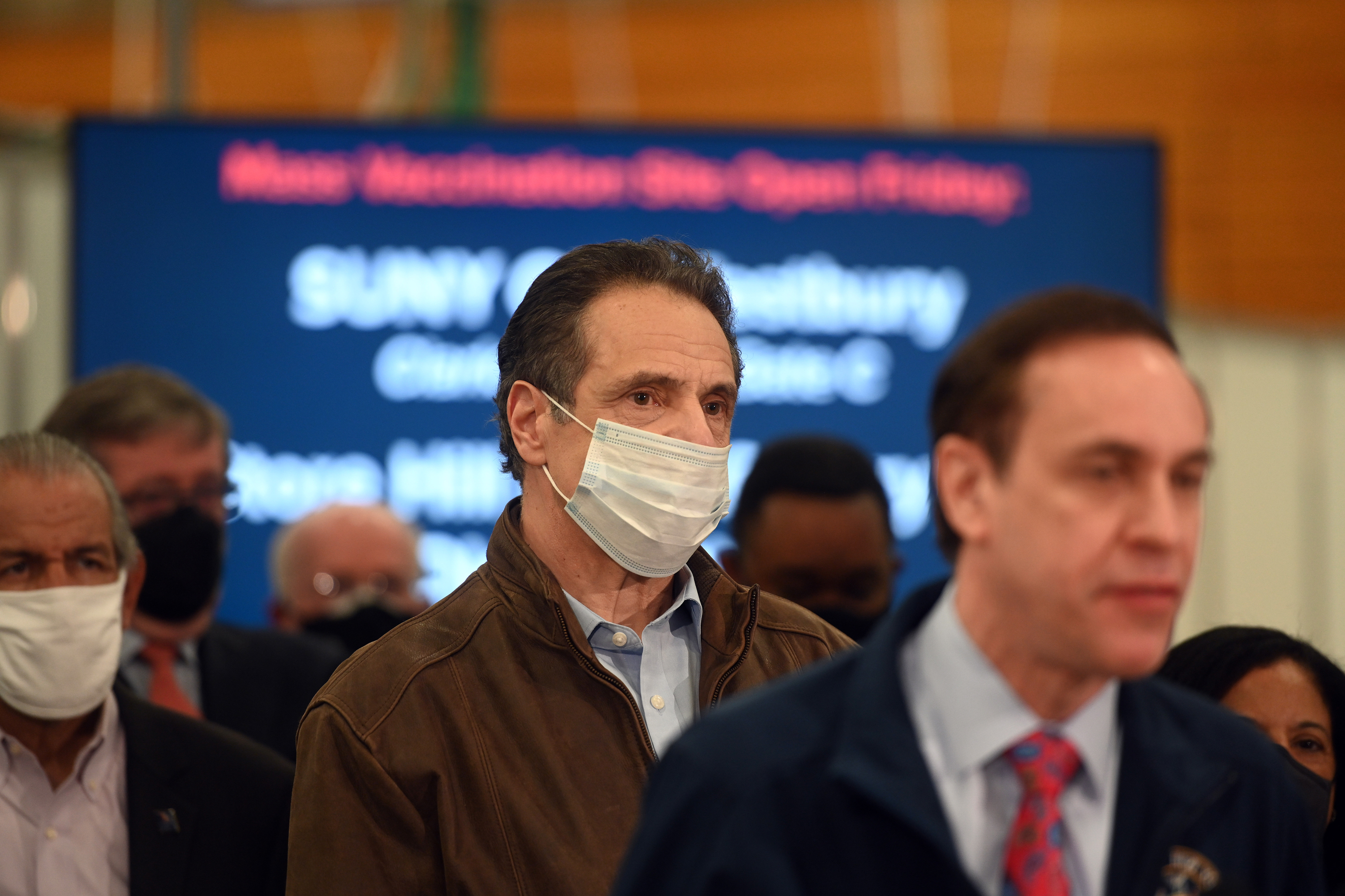 Governor Andrew Cuomo attends the opening of a new mass vaccination site at SUNY Old Westbury, March 14, 2021.
