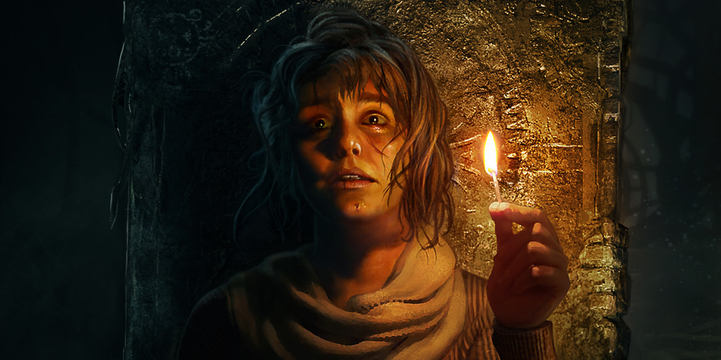 Artwork for Amnesia: Rebirth featuring Tasi holding a lit match in the dark