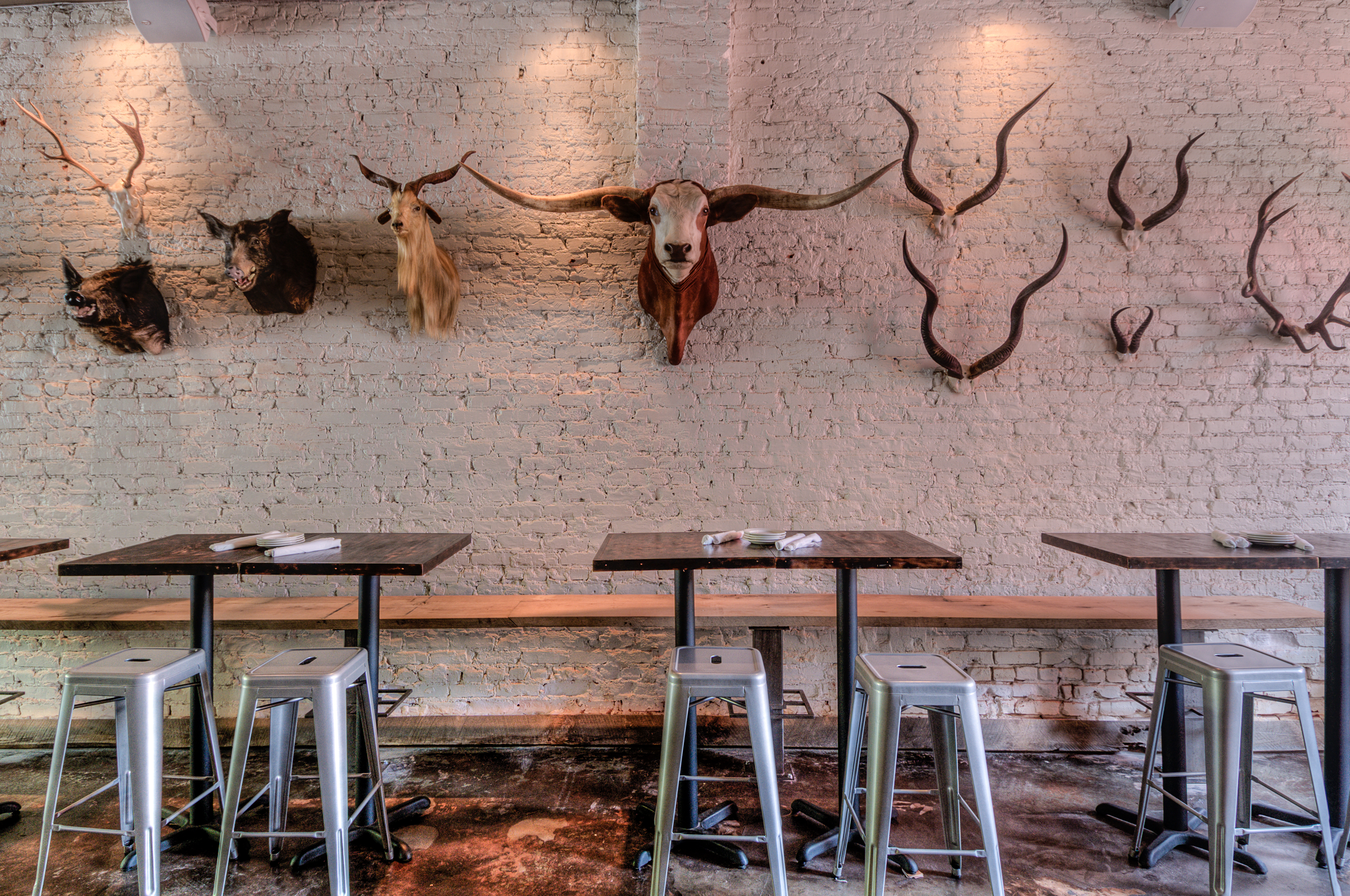 Inside the dining room at One Eared Stag.