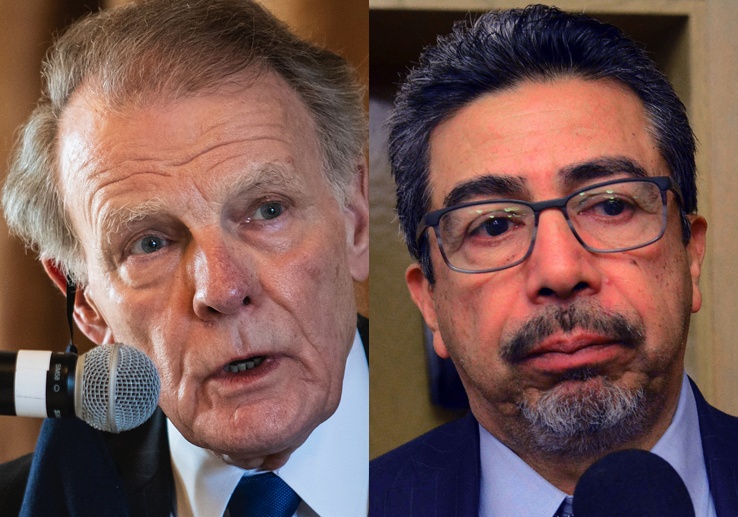 Former Illinois House Speaker Michael Madigan (left) and former Chicago Ald. Danny Solis both gave up their offices and have started taking government pensions even as federal authorities have been investigating their actions.