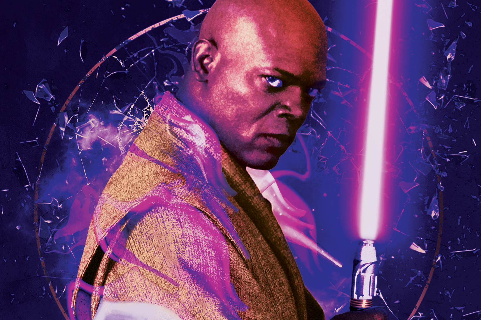 a close-up of Mace Windu (Samuel L. Jackson) on the cover of Shatterpoint