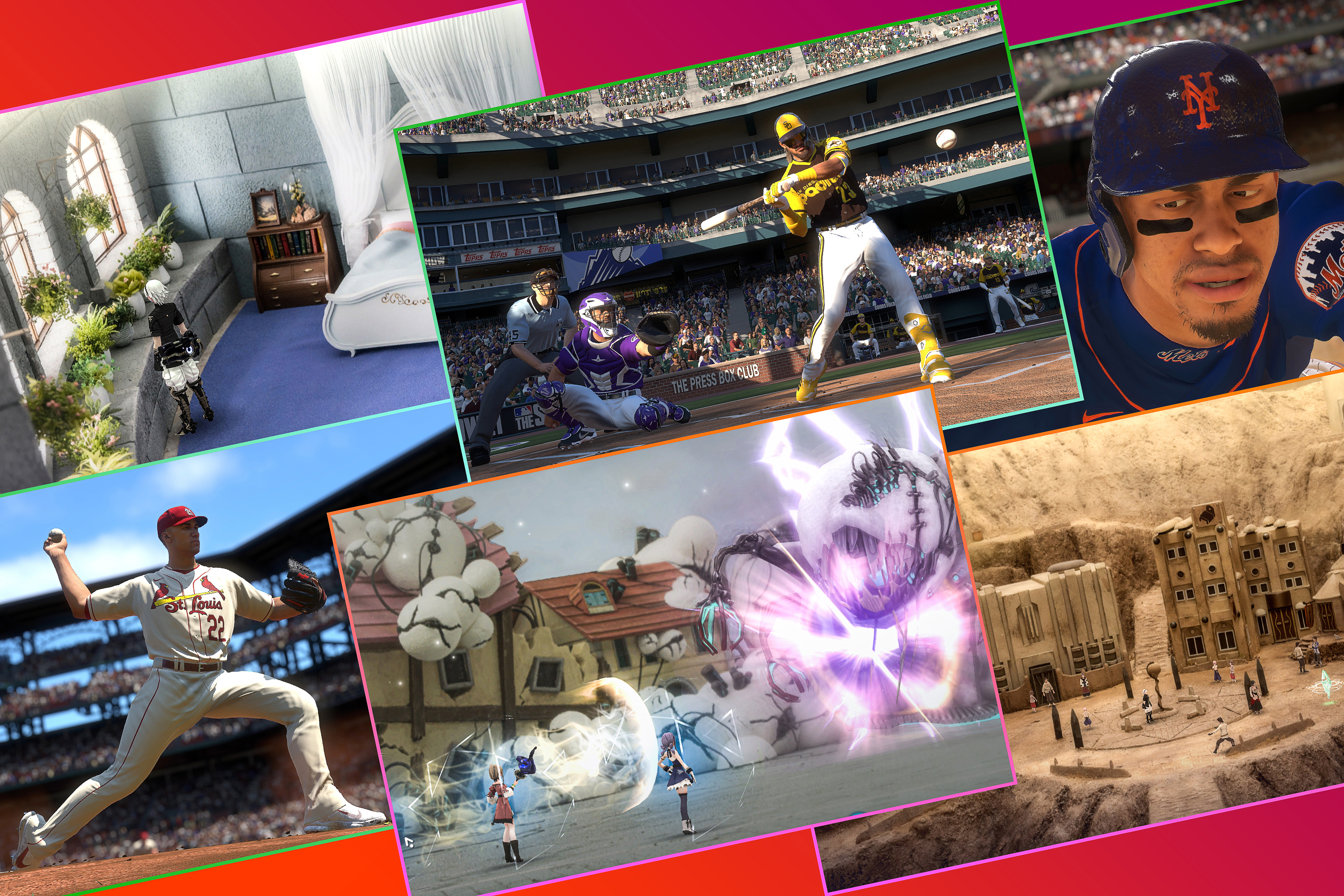 Grid featuring six different screens from Fantasian and MLB21 video games