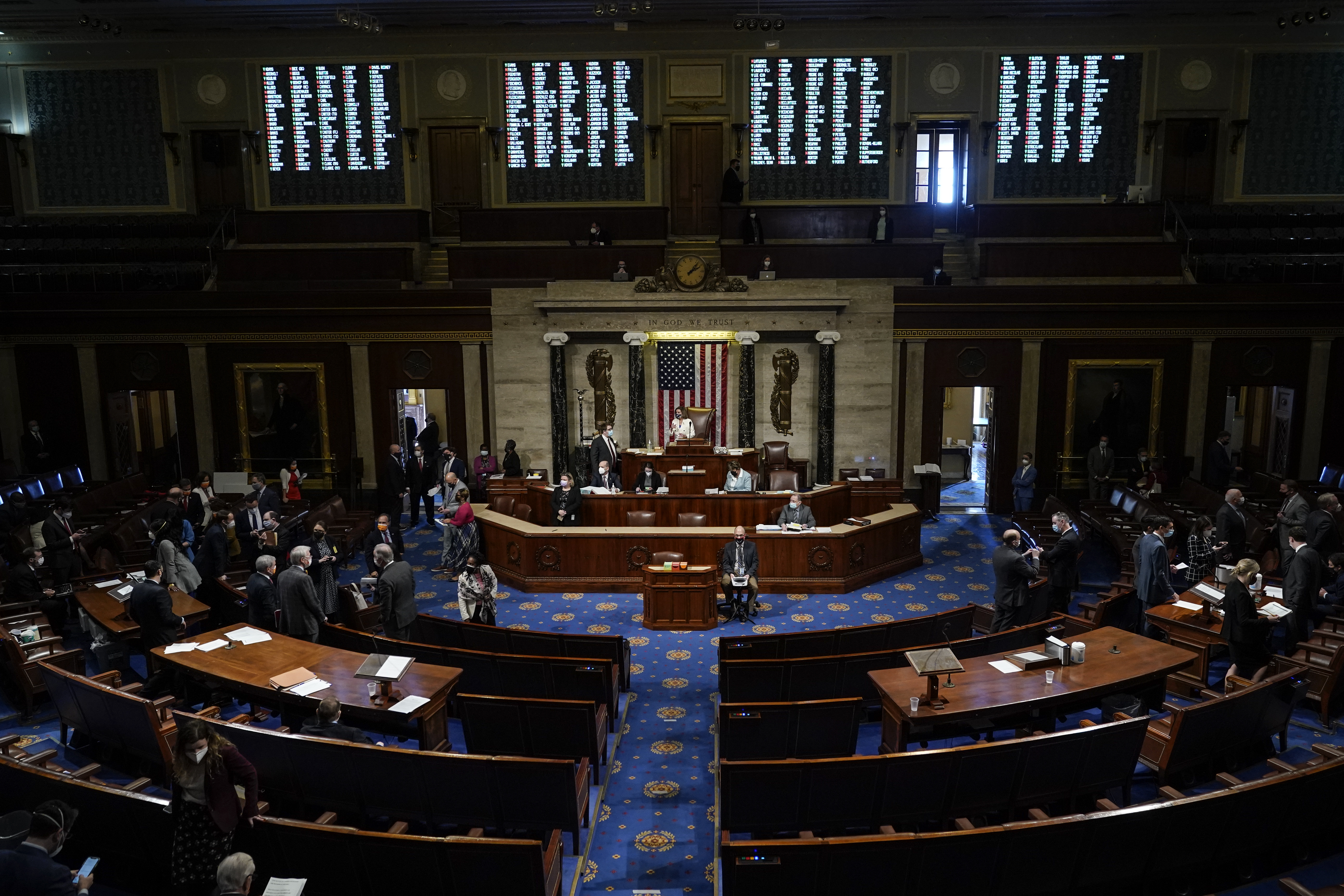 WASHINGTON, DC - MARCH 10: Speaker of the House Nancy Pelosi (D-CA) presides over voting on coronavirus relief package H.R. 1319 in the House Chamber of the U.S. Capitol on March 10, 2021 in Washington, DC. In a final vote, the House passed U.S. President Joe Biden's revised $1.9 trillion COVID-19 relief bill, named the American Rescue Plan, in the administration's first major legislative achievement.