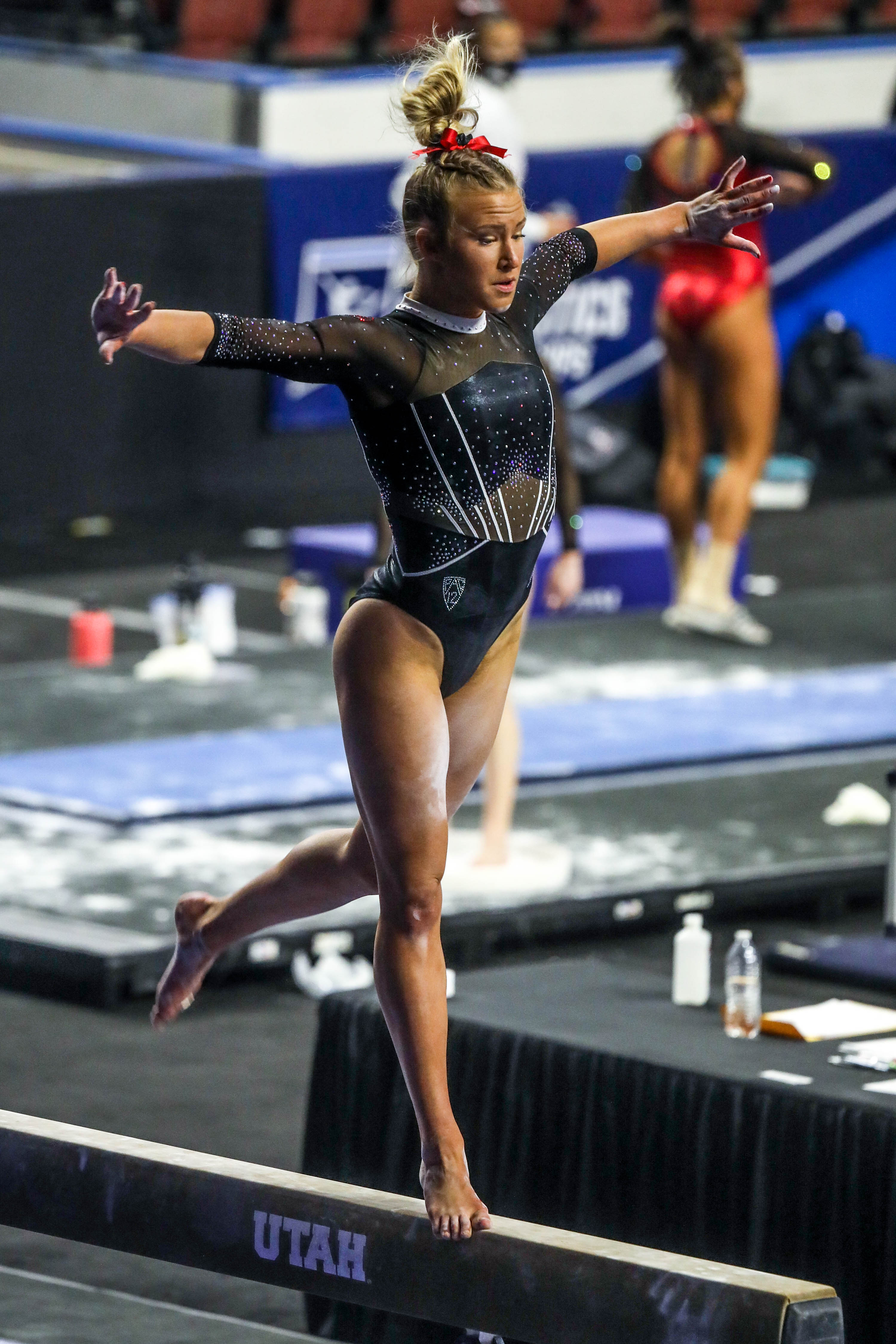 Utah Utes gymnast Abby Paulson competes on the beam during the NCAA regional second round at the Maverik Center on Friday, April 2, 2021.