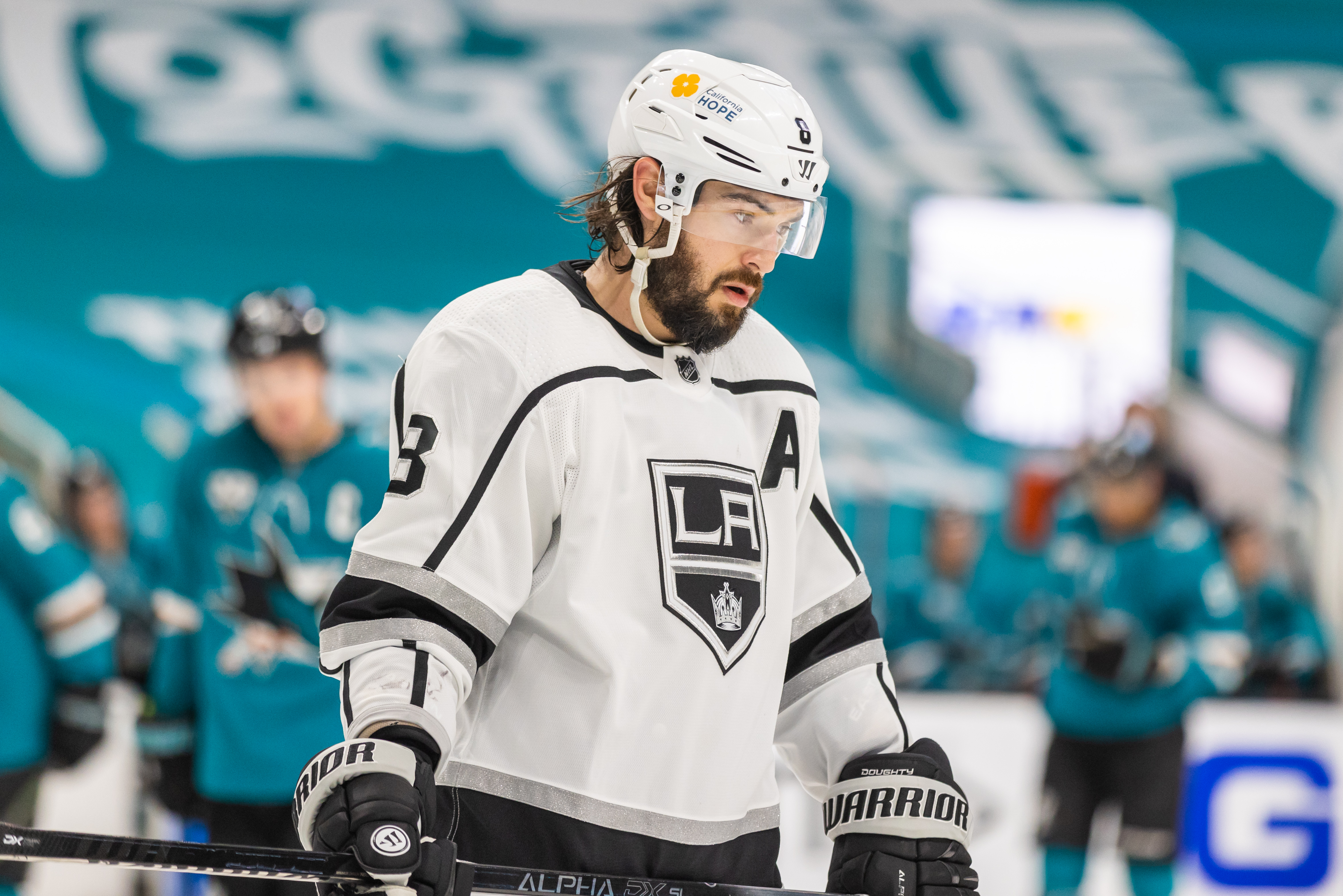 Los Angeles Kings Defenceman Drew Doughty (8) looks dejected during the NHL hockey game between the Los Angeles Kings and San Jose Sharks on March 24, 2021 at SAP Center in San Jose, CA.