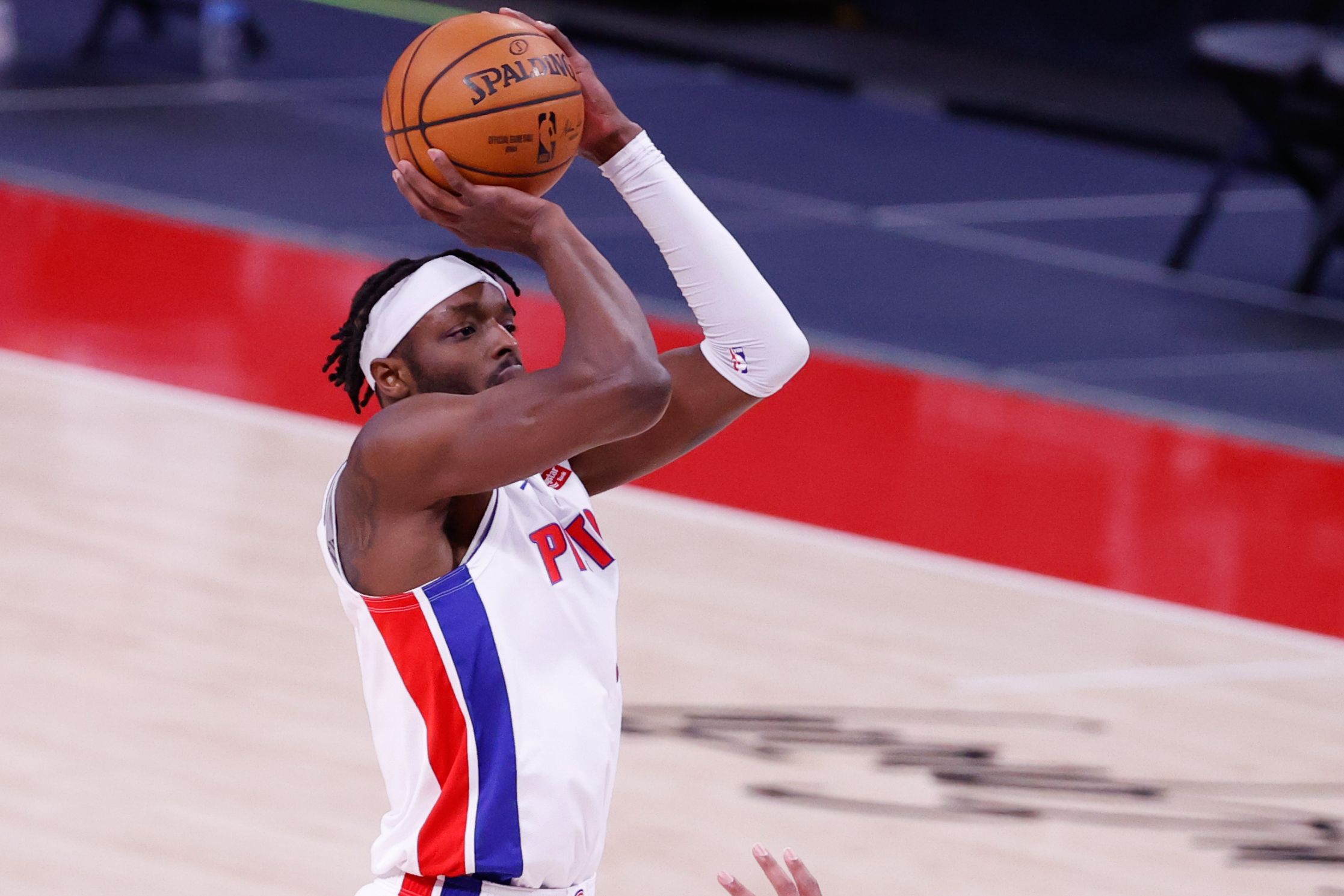 Detroit Pistons forward Jerami Grant shoots in the first half against the Portland Trail Blazers at Little Caesars Arena.