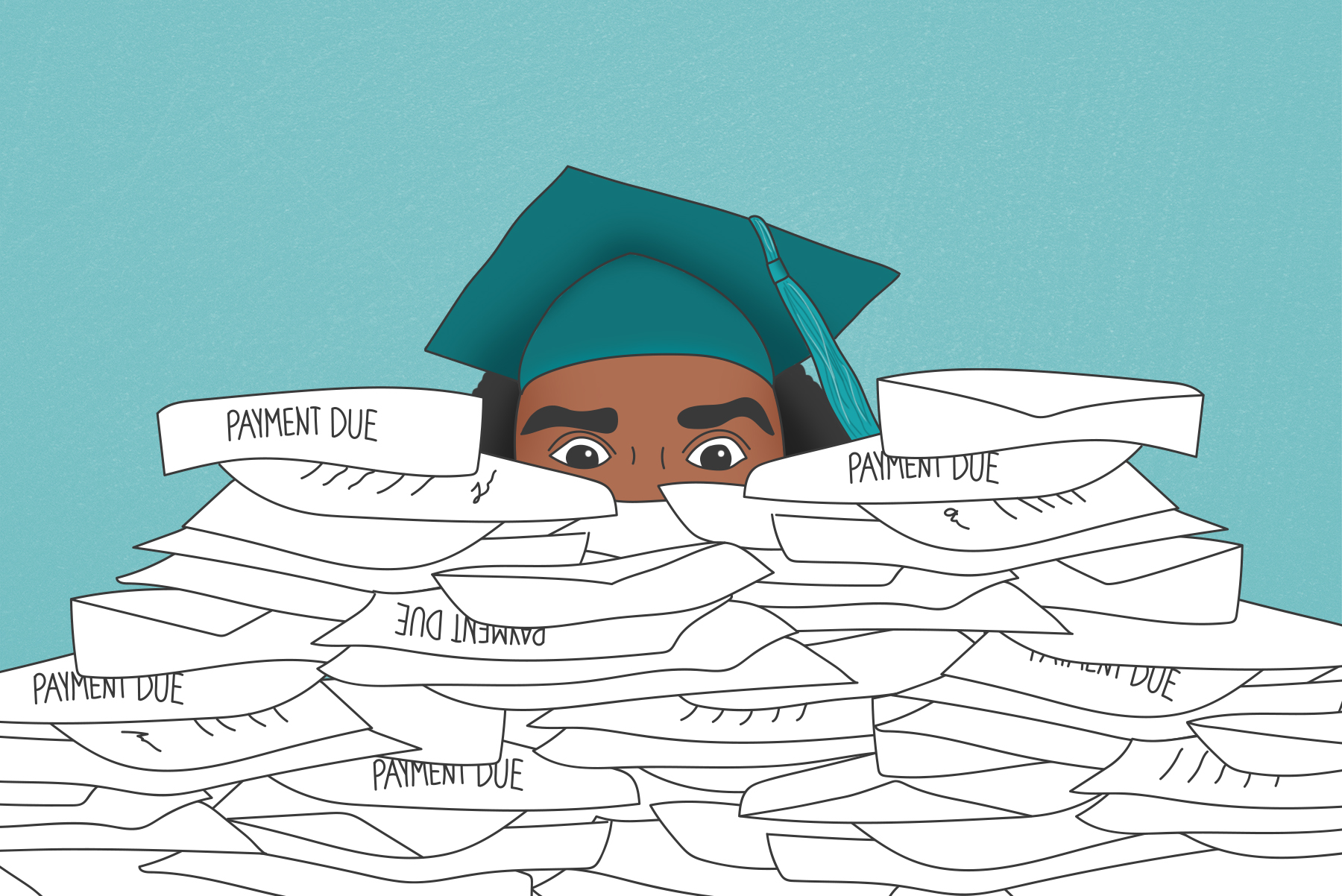 Illustration of a student wearing a graduation cap drowning in an overwhelming pile of bills and envelopes.