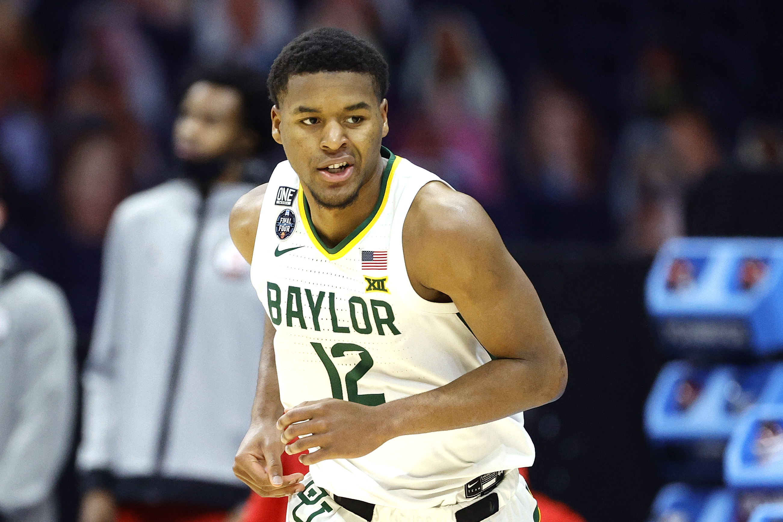 Jared Butler of the Baylor Bears reacts against the Houston Cougars during the 2021 NCAA Final Four semifinal at Lucas Oil Stadium on April 03, 2021 in Indianapolis, Indiana.
