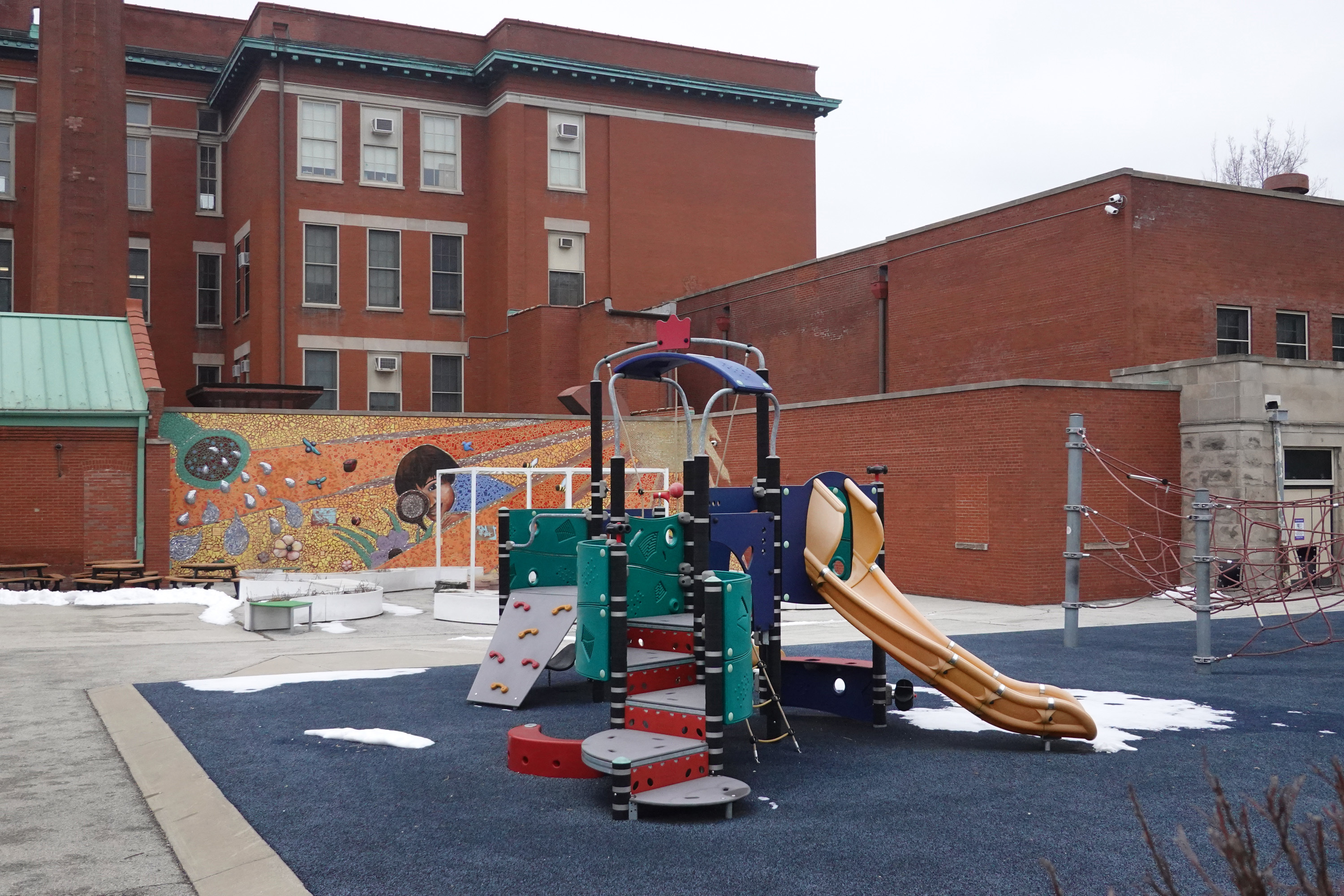 CHICAGO, ILLINOIS - JANUARY 25: Unused playground equipment sits outside of Burr Elementary School on January 25, 2021 in Chicago, Illinois. Chicago Public School teachers were scheduled to return to the classroom for in-person learning today, but the union objected and voted to continue remote learning. (Photo by Scott Olson/Getty Images)