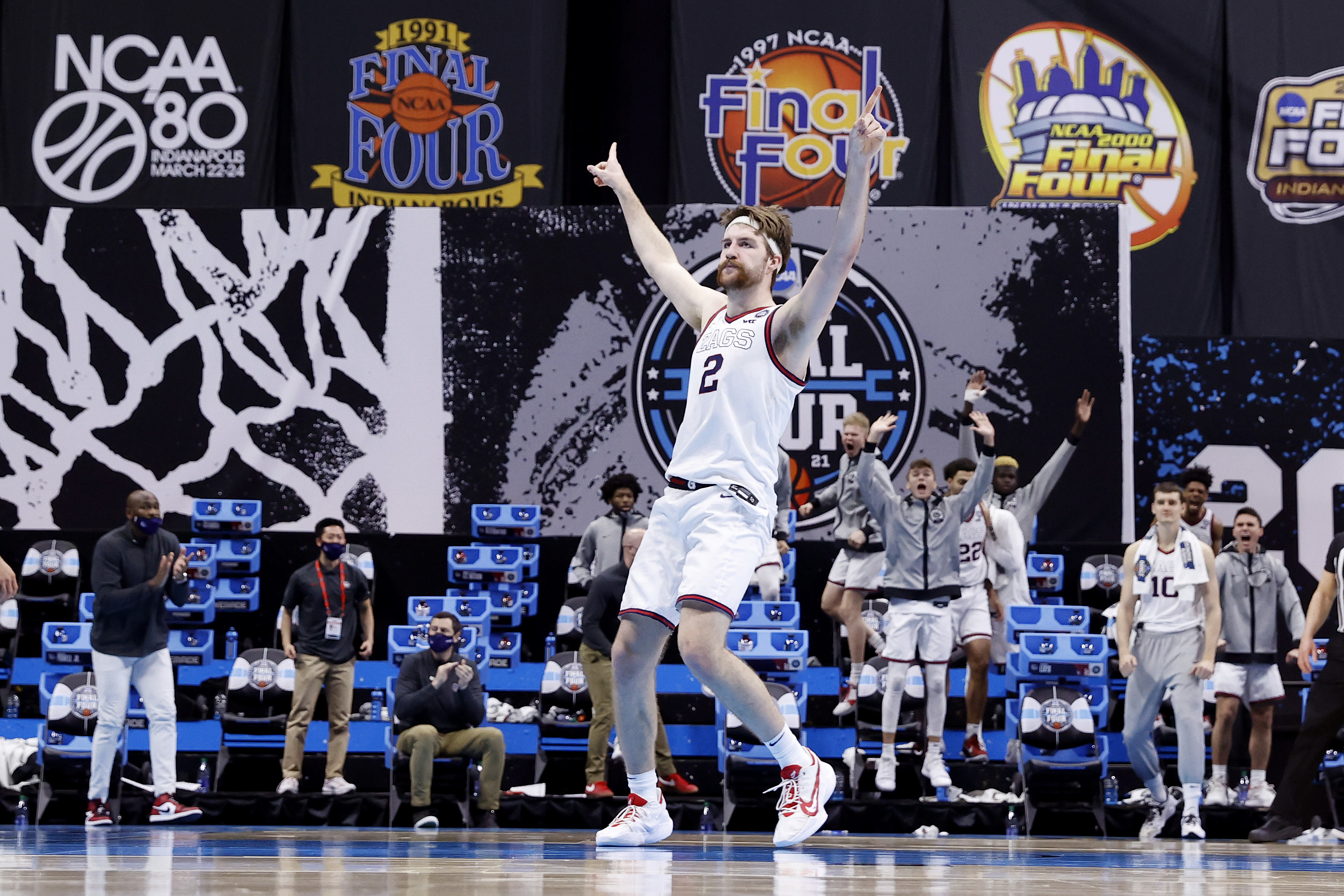 Drew Timme of the Gonzaga Bulldogs reacts in the second half against the UCLA Bruins during the 2021 NCAA Final Four semifinal at Lucas Oil Stadium on April 03, 2021 in Indianapolis, Indiana.