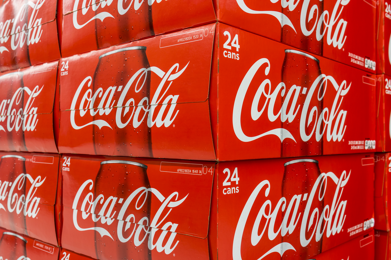 Boxes of Coca-Cola.
