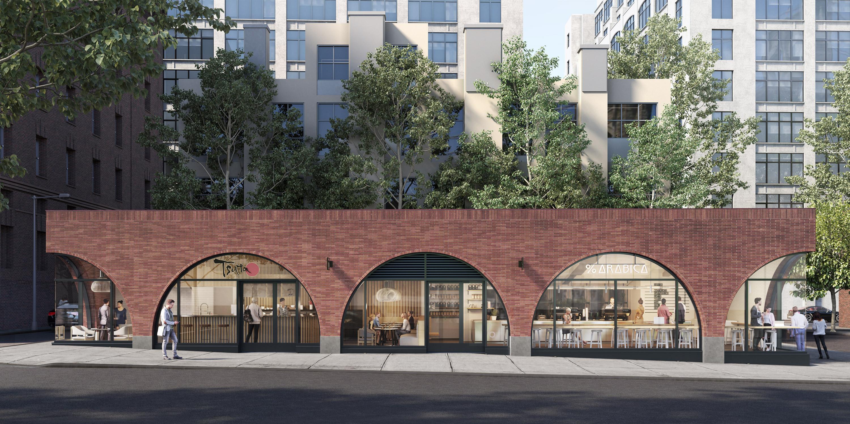 A rendering of a brick building that will house a ramen shop called Tsuta