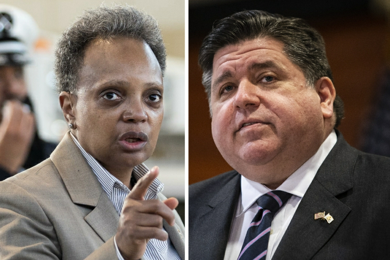 Mayor Lori Lightfoot, left, speaks during a news conference about the opening of a new firehouse in the West Pullman neighborhood last week; Gov. J.B. Pritzker, right, attends a news conference at Chicago State University in February.