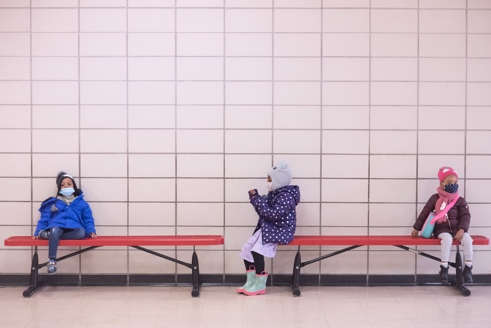 Preschoolers sit socially distanced at Phyl's Academy in Brooklyn on March 23, 2021.