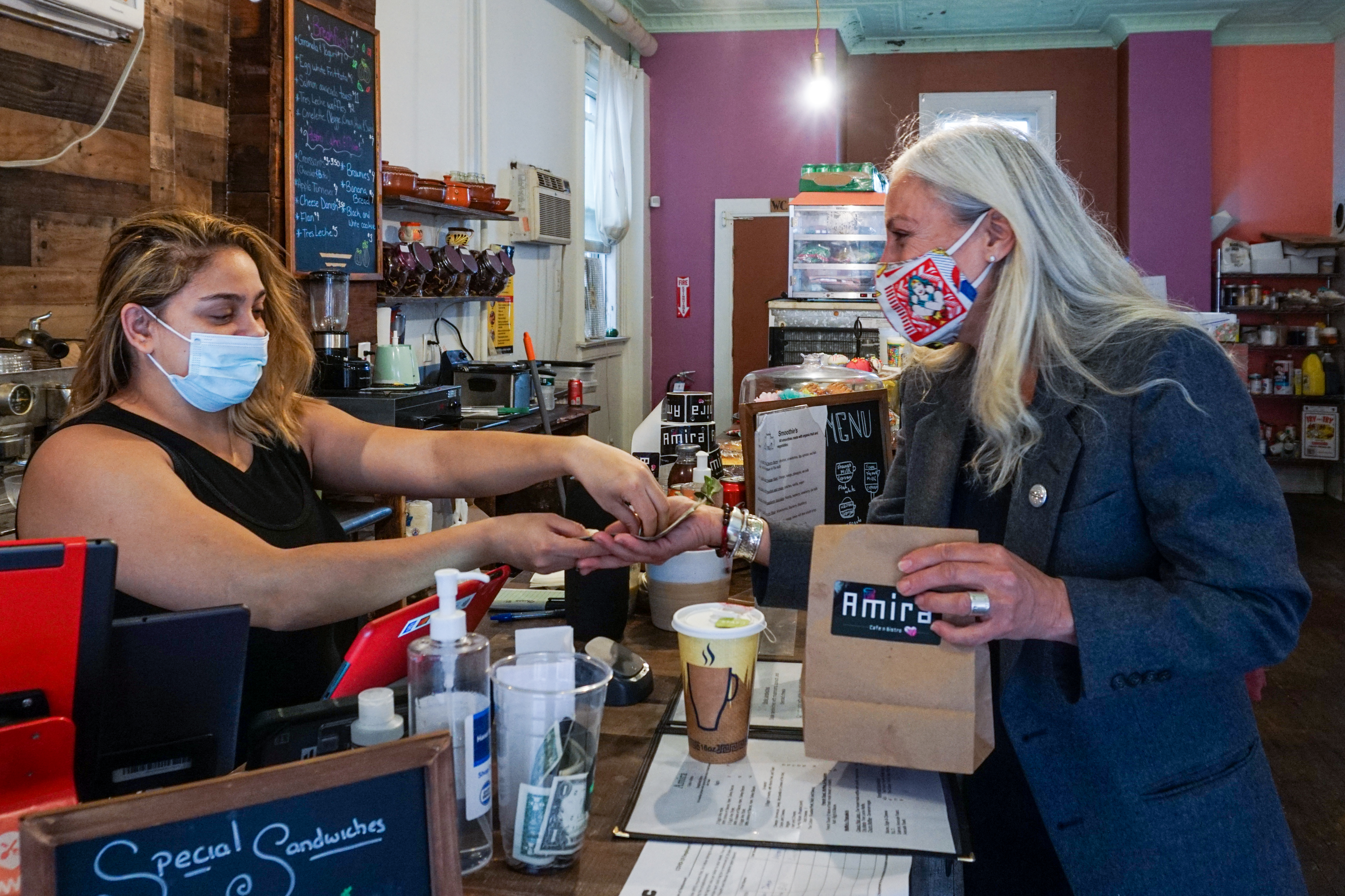 Lorie Honor, a Democrat and small business owner running for Staten Island Borough President, at a small business in the borough's North Shore.