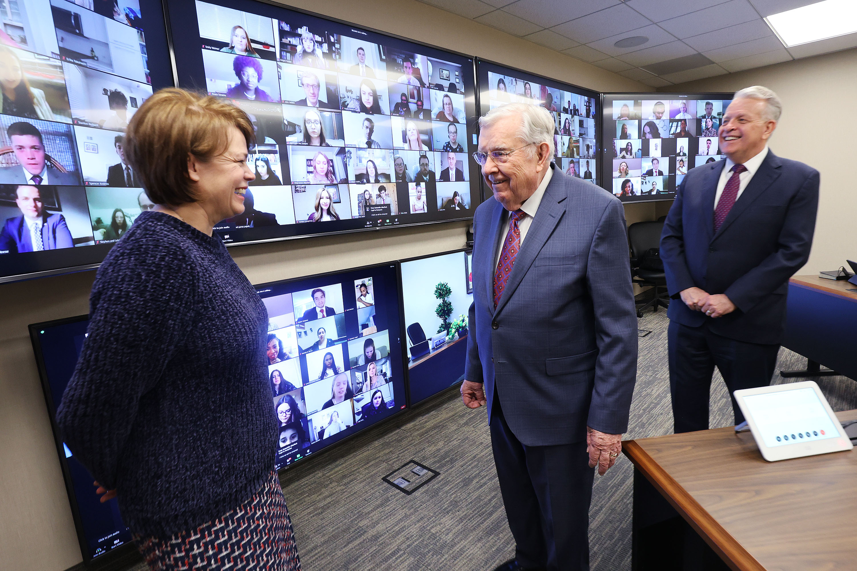 President M. Russell Ballard, Elder Brent Nielson, Presidency of the Seventy, and Sister Sharon Eubank, First Counselor, Relief Society General Presidency, talk priorate participating in a Zoom meeting with young single adults from the Church Office Building in Salt Lake City on Sunday, March 7, 2021.
