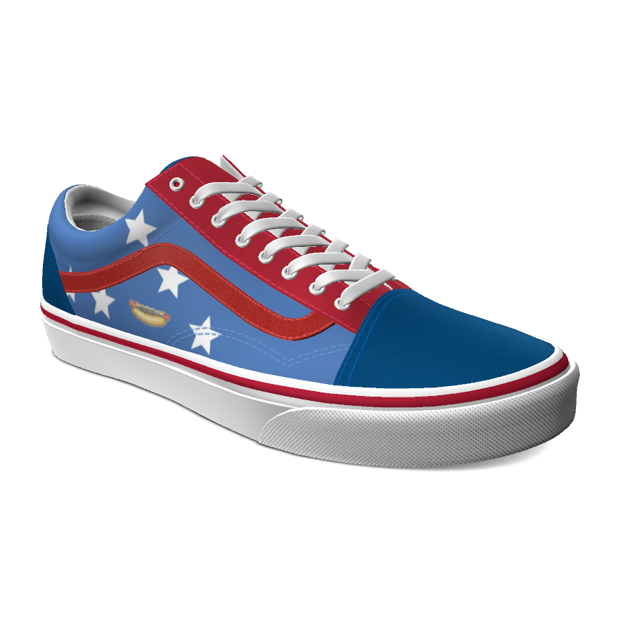 The star-spangled custom Vans skate shoe for American Coney restaurant features a blue background with red stripe along the sides and four white stars with a hot dog icon