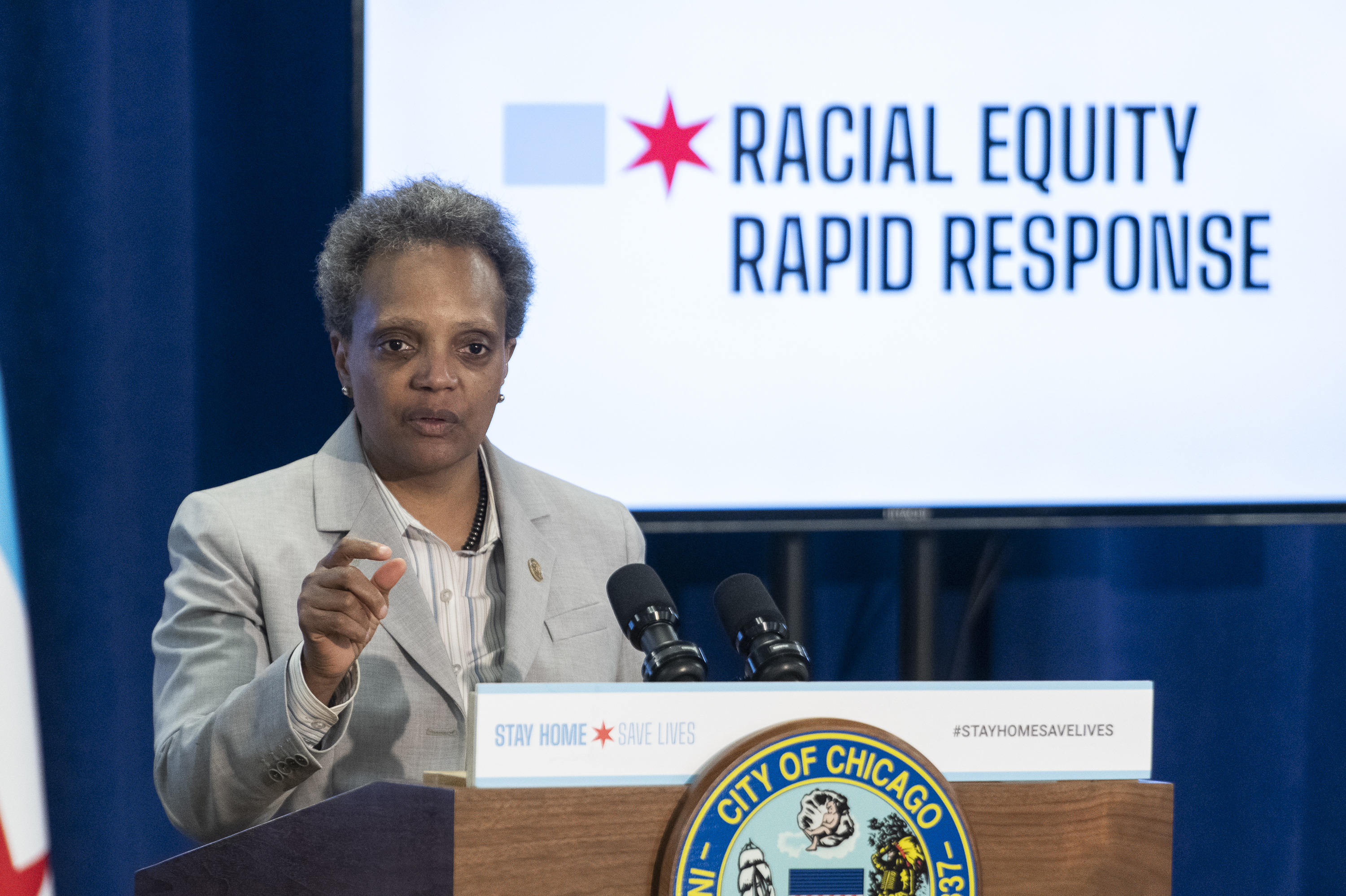 Mayor Lori Lightfoot answers reporters questions during a press conference to provide an update to the latest efforts by the racial equity rapid response teams, Monday April 20, 2020.